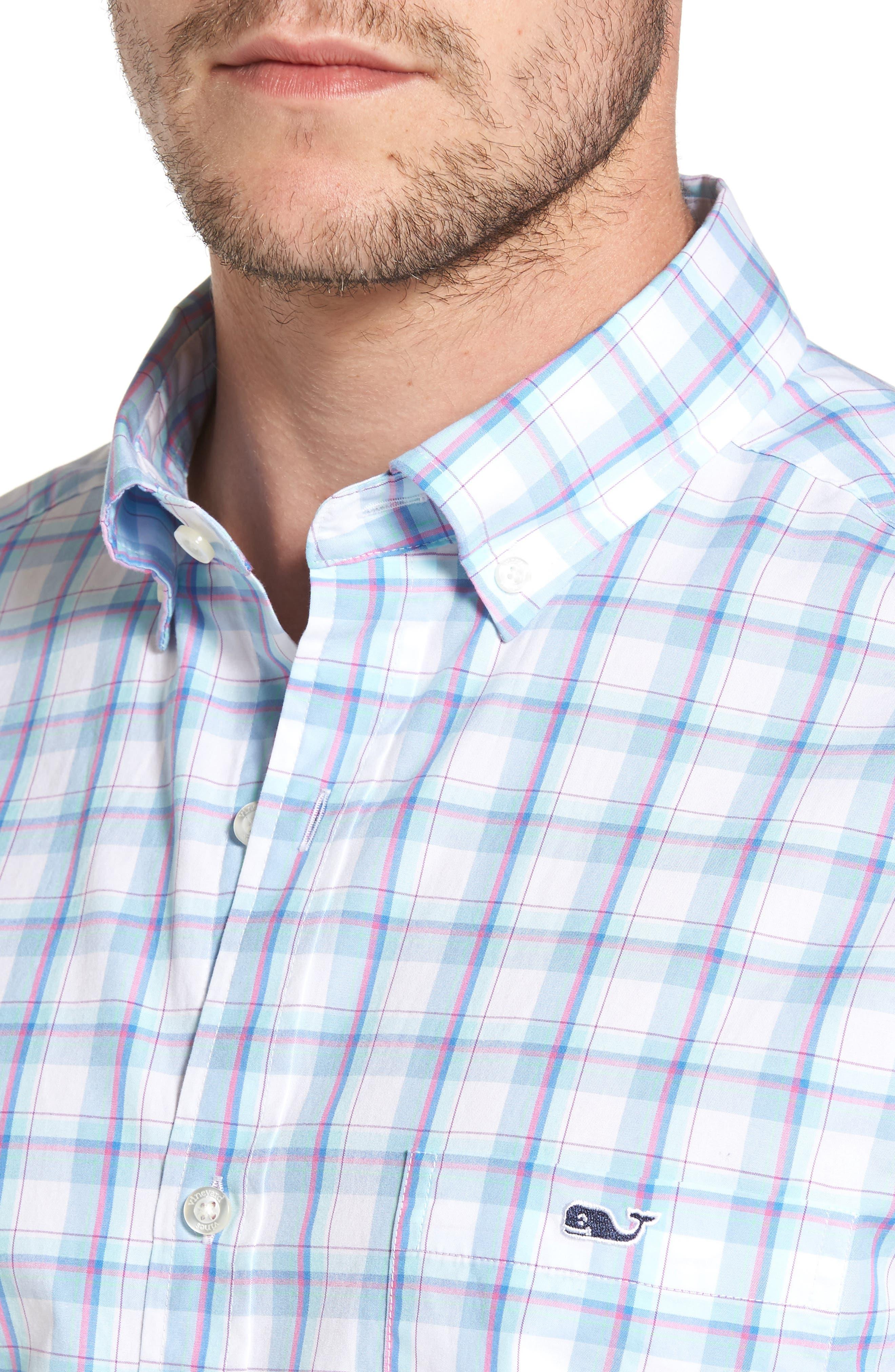 Plaid Classic Fit Sport Shirt,                             Alternate thumbnail 4, color,                             Jake Blue
