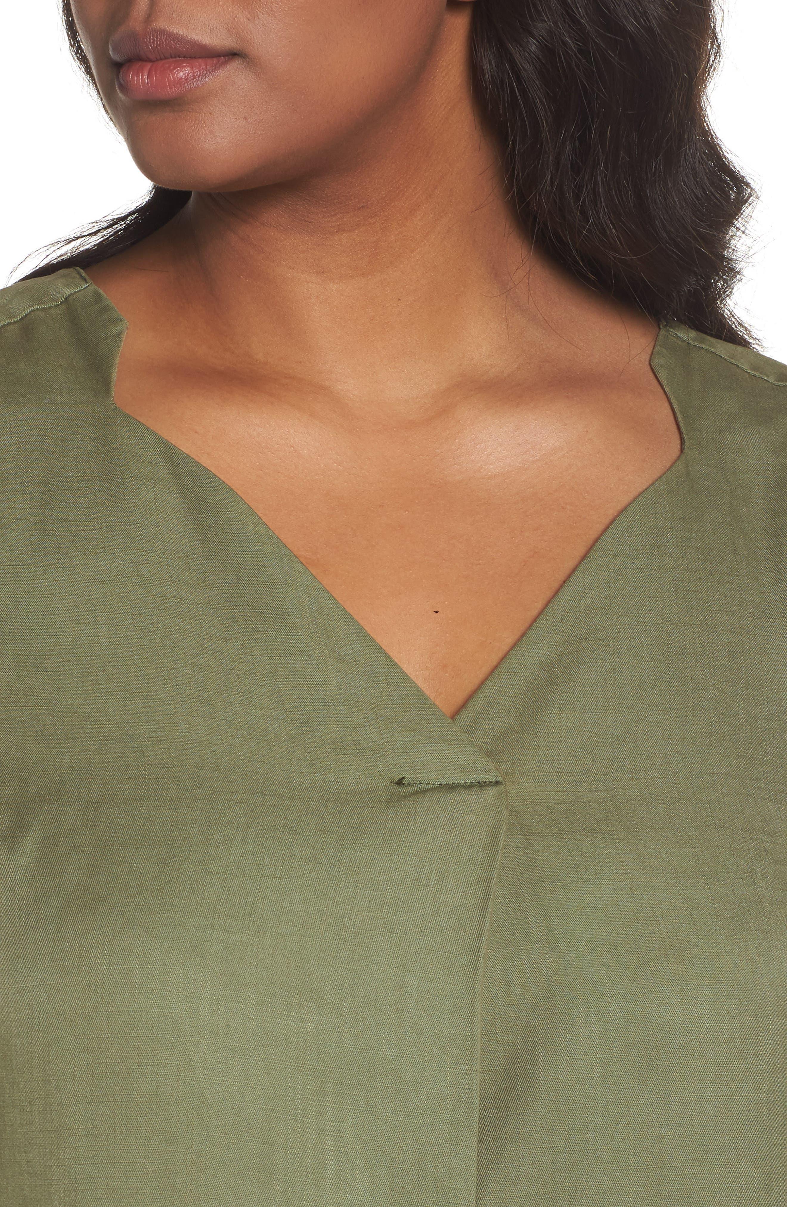 Alternate Image 4  - Foxcroft Skyler Twill A-Line Dress (Plus Size)