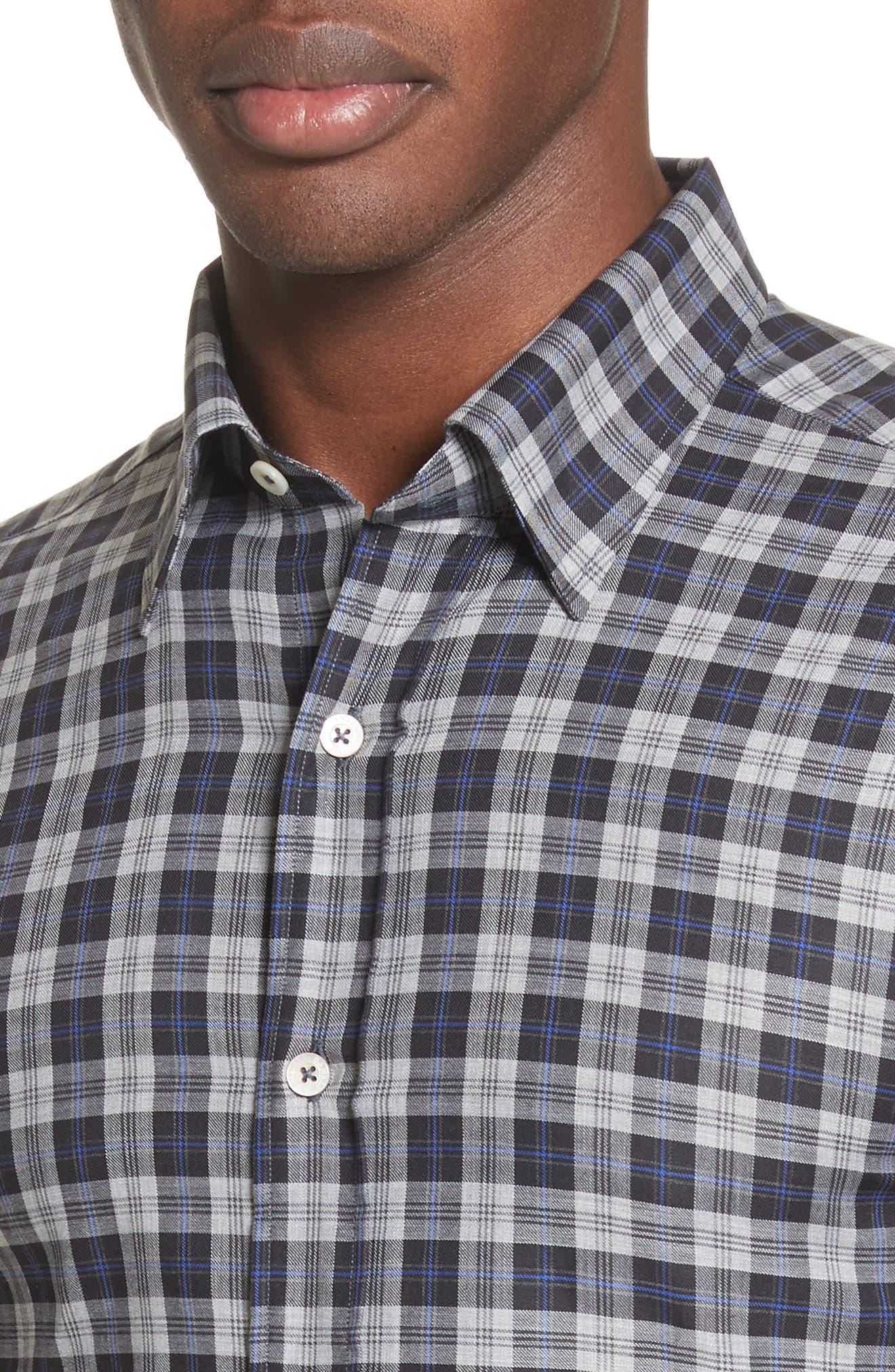 Alternate Image 4  - Canali Plaid Sport Shirt