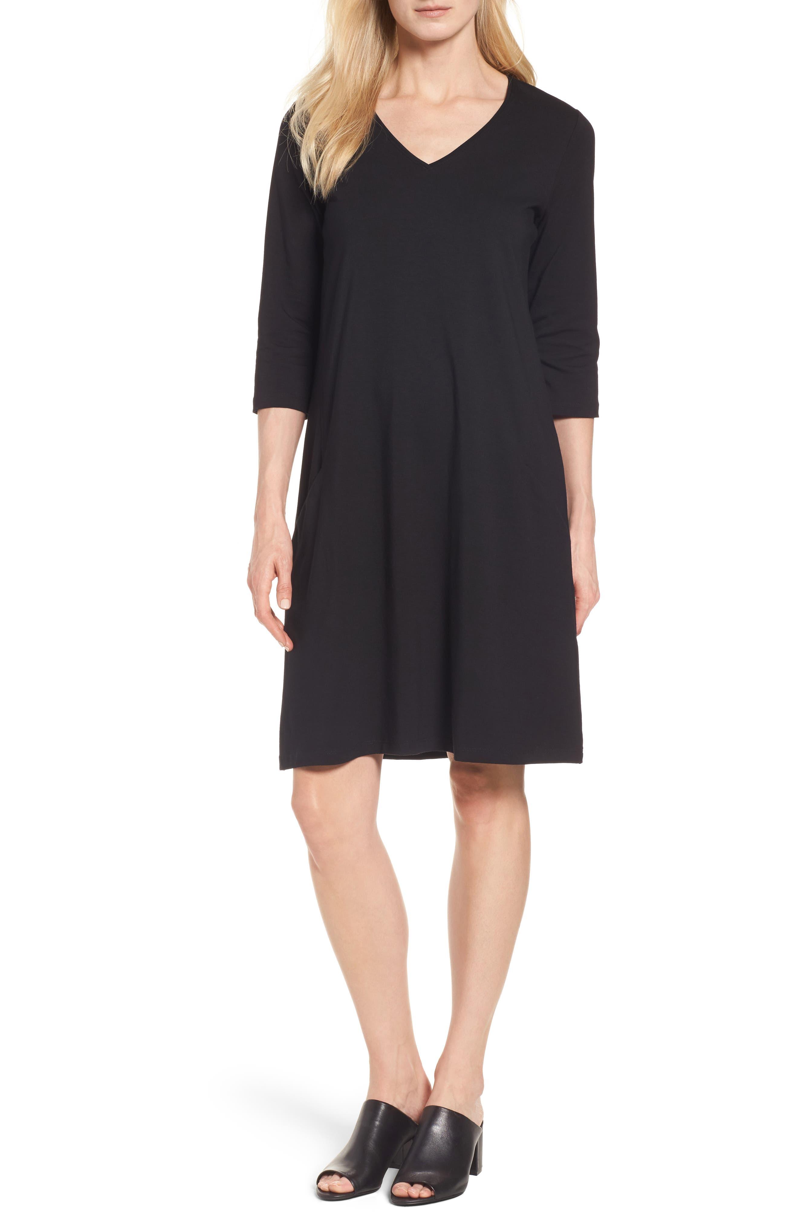 Stretch Organic Cotton Jersey Shift Dress,                             Main thumbnail 1, color,                             Black