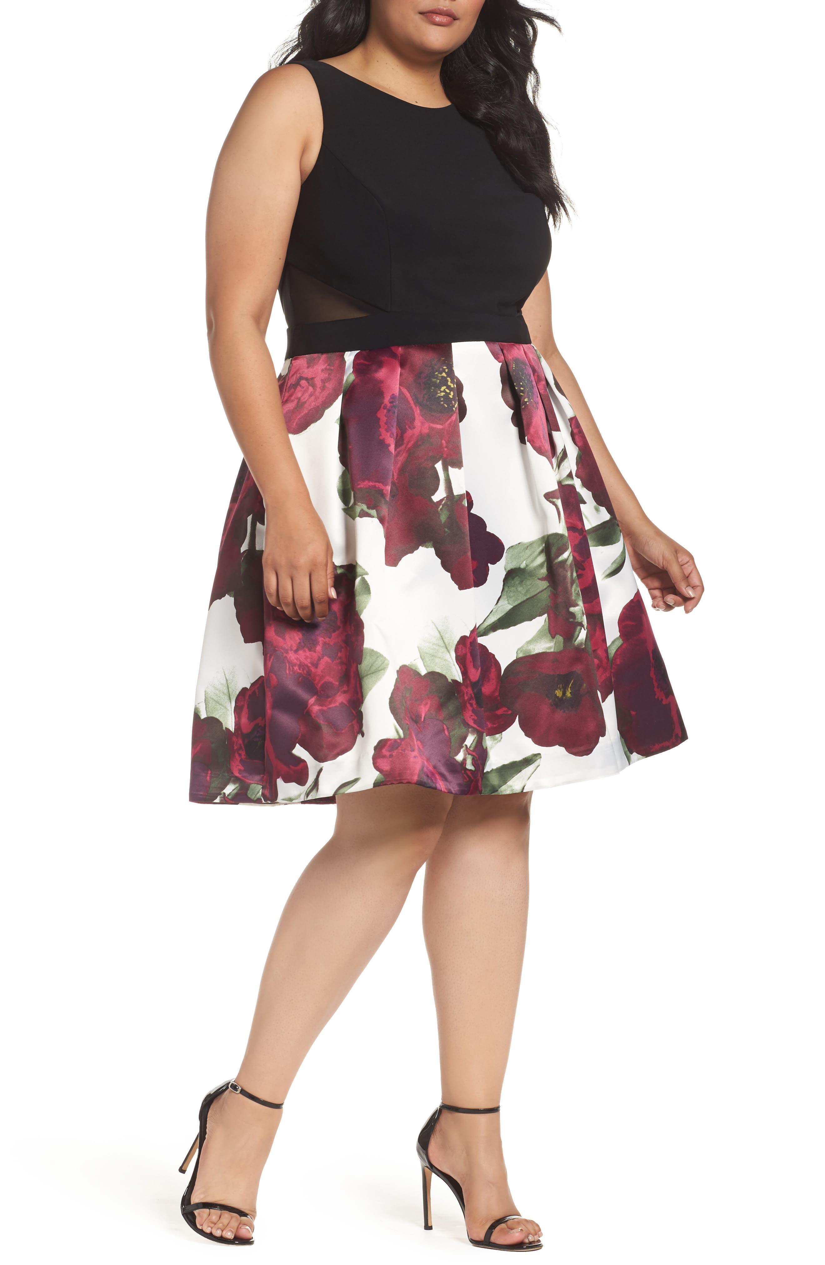 Xscape Mixed Media Fit & Flare Dress (Plus Size)