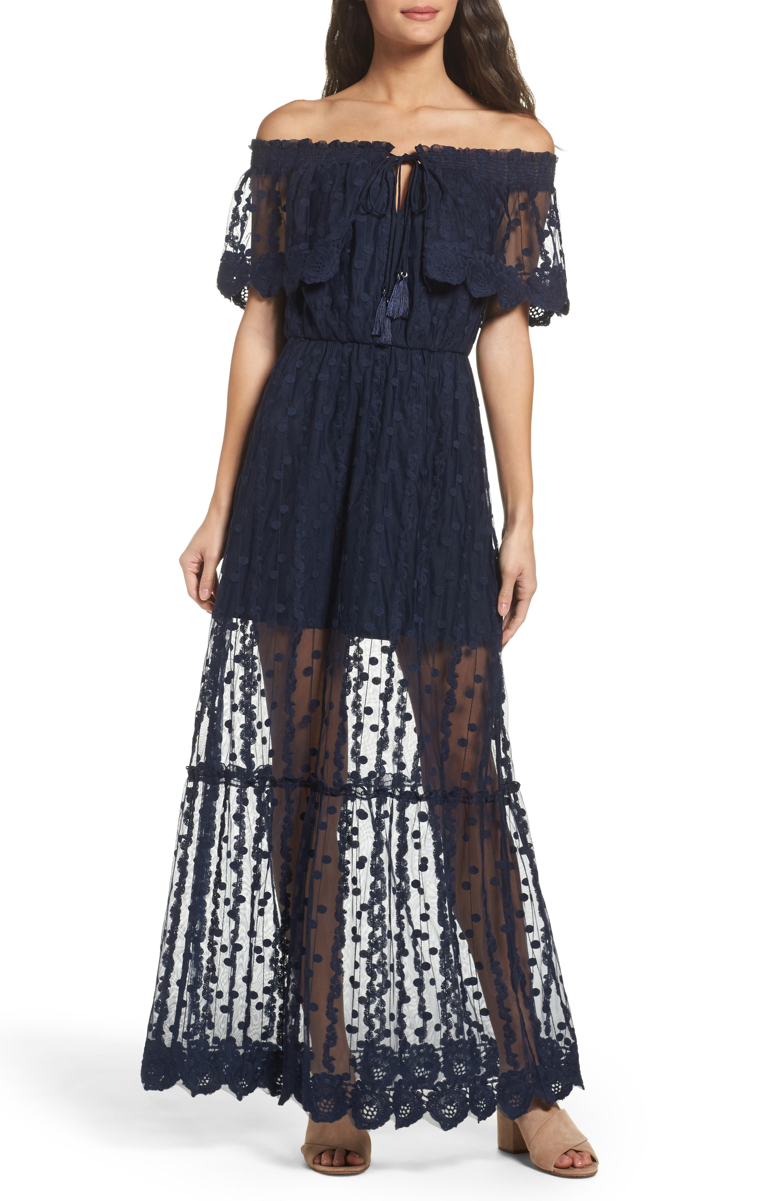 Main Image - Adelyn Rae Josephine Off the Shoulder Lace Maxi Dress