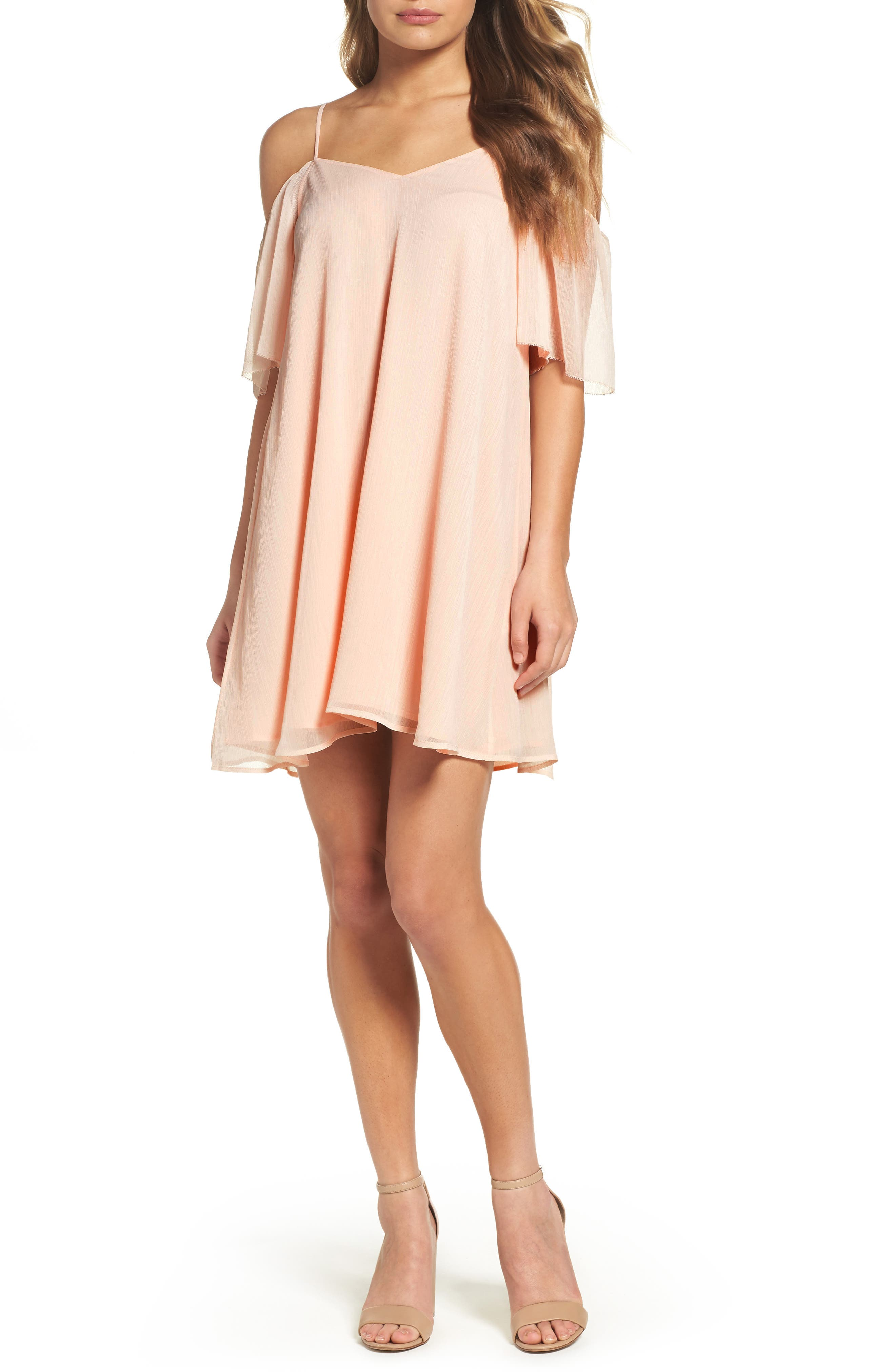 Constance Cold Shoulder Dress,                         Main,                         color, Pink Opal