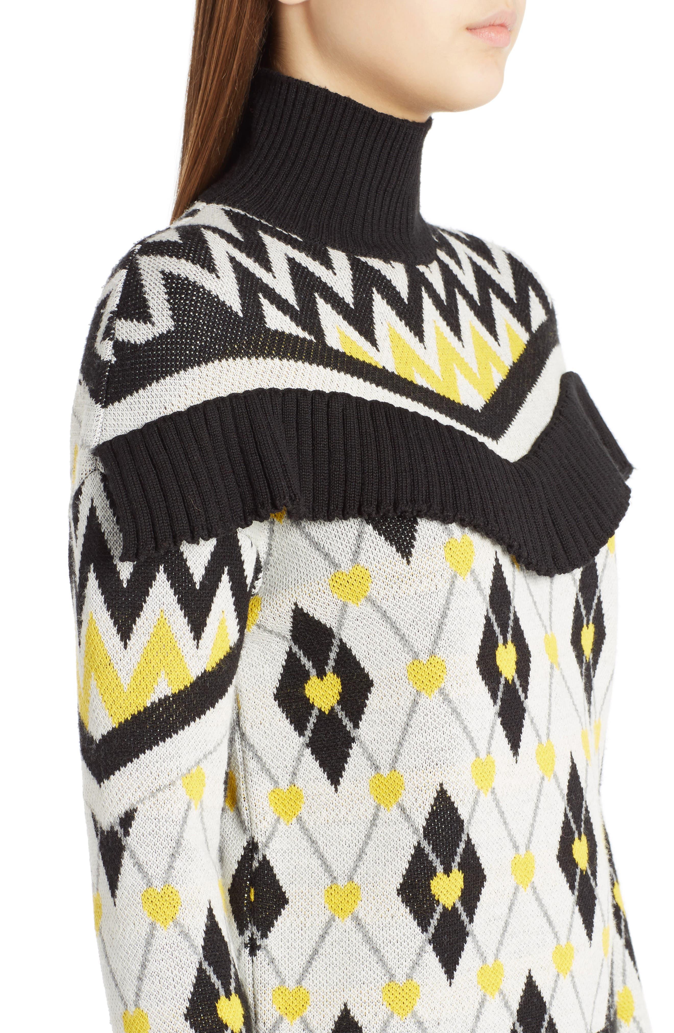 Argyle Heart Turtleneck Sweater,                             Alternate thumbnail 5, color,                             White
