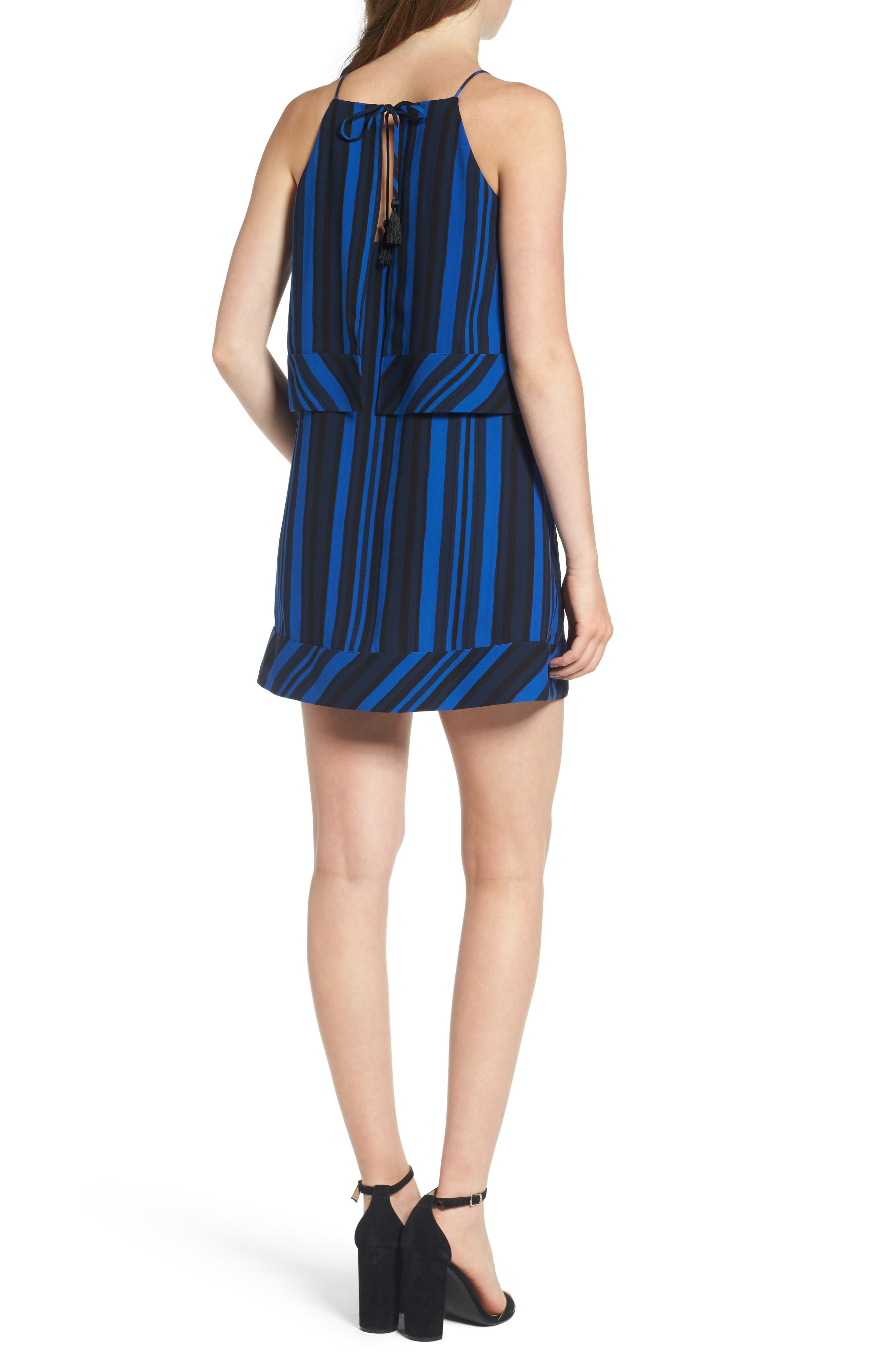 Callie Tiered Shift Dress,                             Alternate thumbnail 2, color,                             Blue Stripe Print