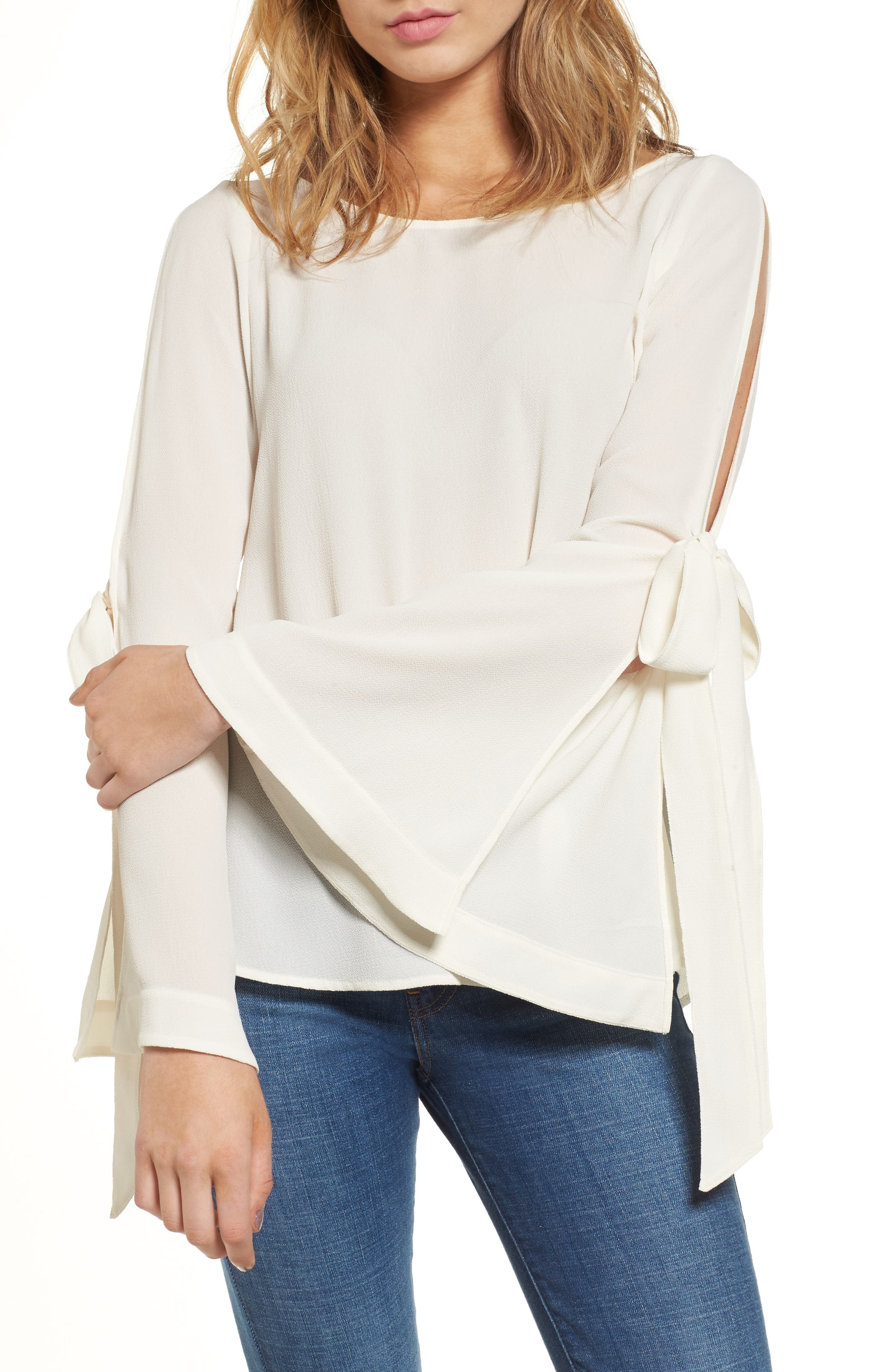 Tie Sleeve Blouse,                             Main thumbnail 1, color,                             Ivory Egret