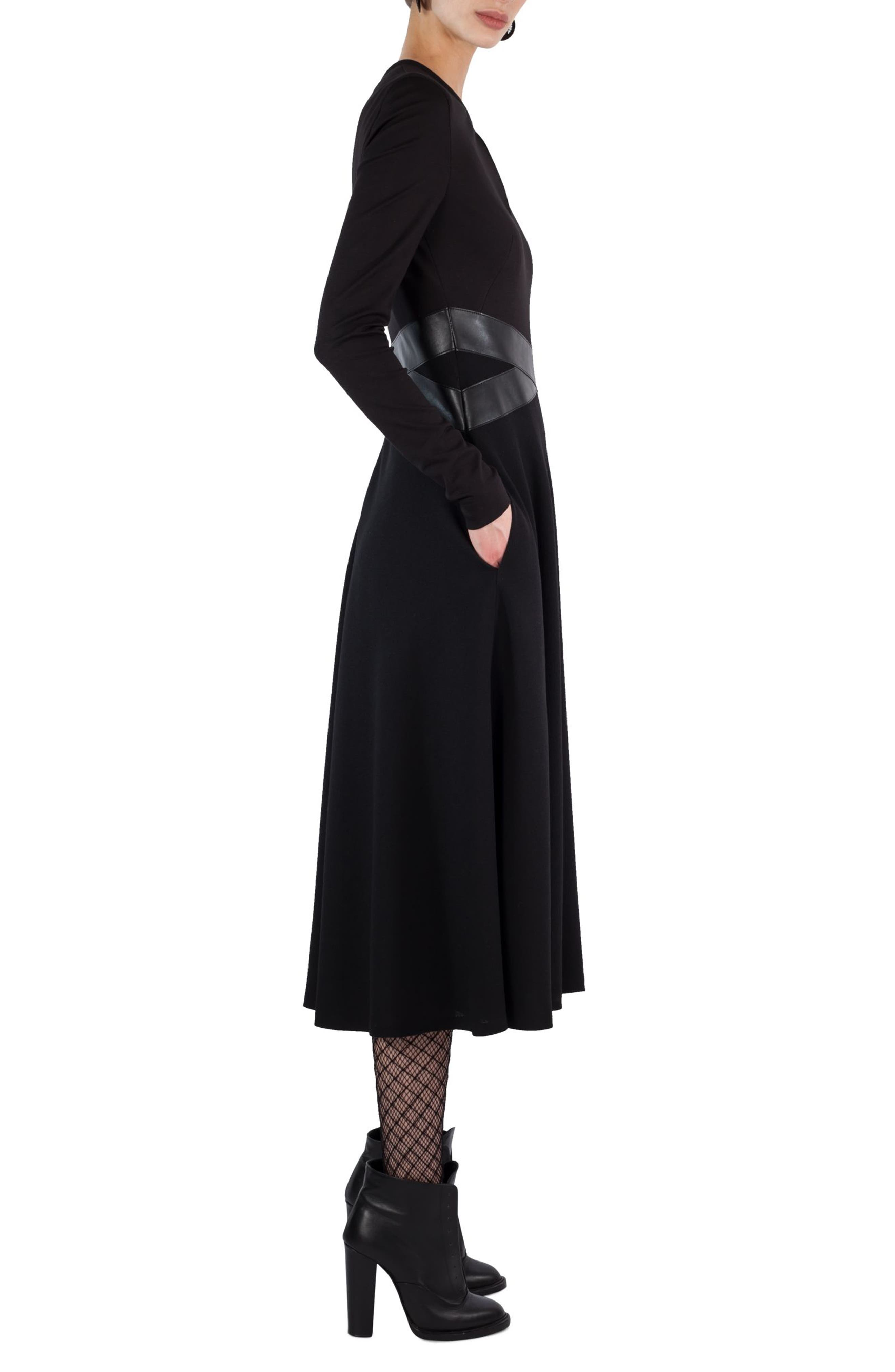 Alternate Image 3  - Akris punto Leather Waist A-Line Dress