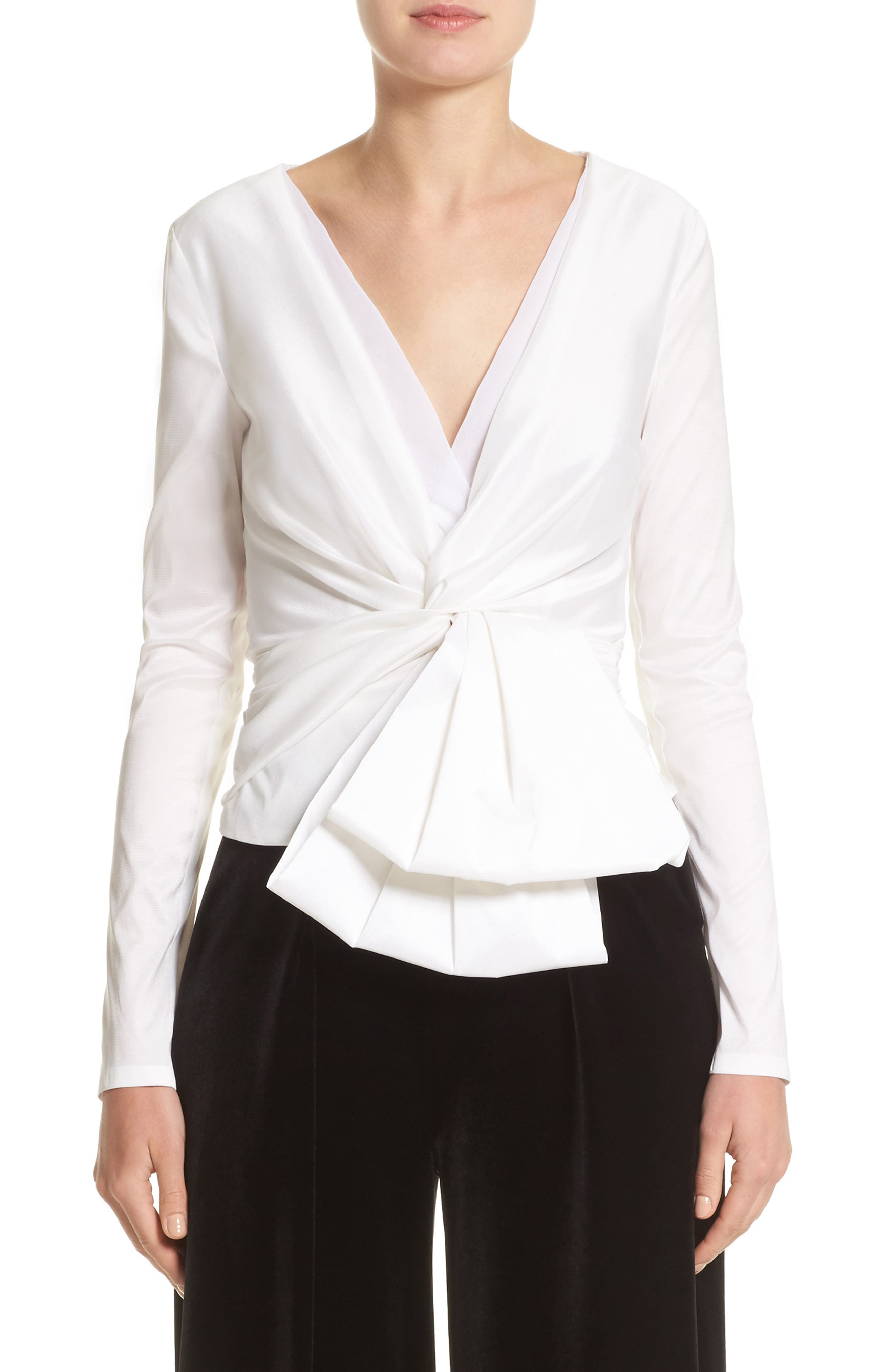 V-Neck Blouse with Bow Detail,                         Main,                         color, White