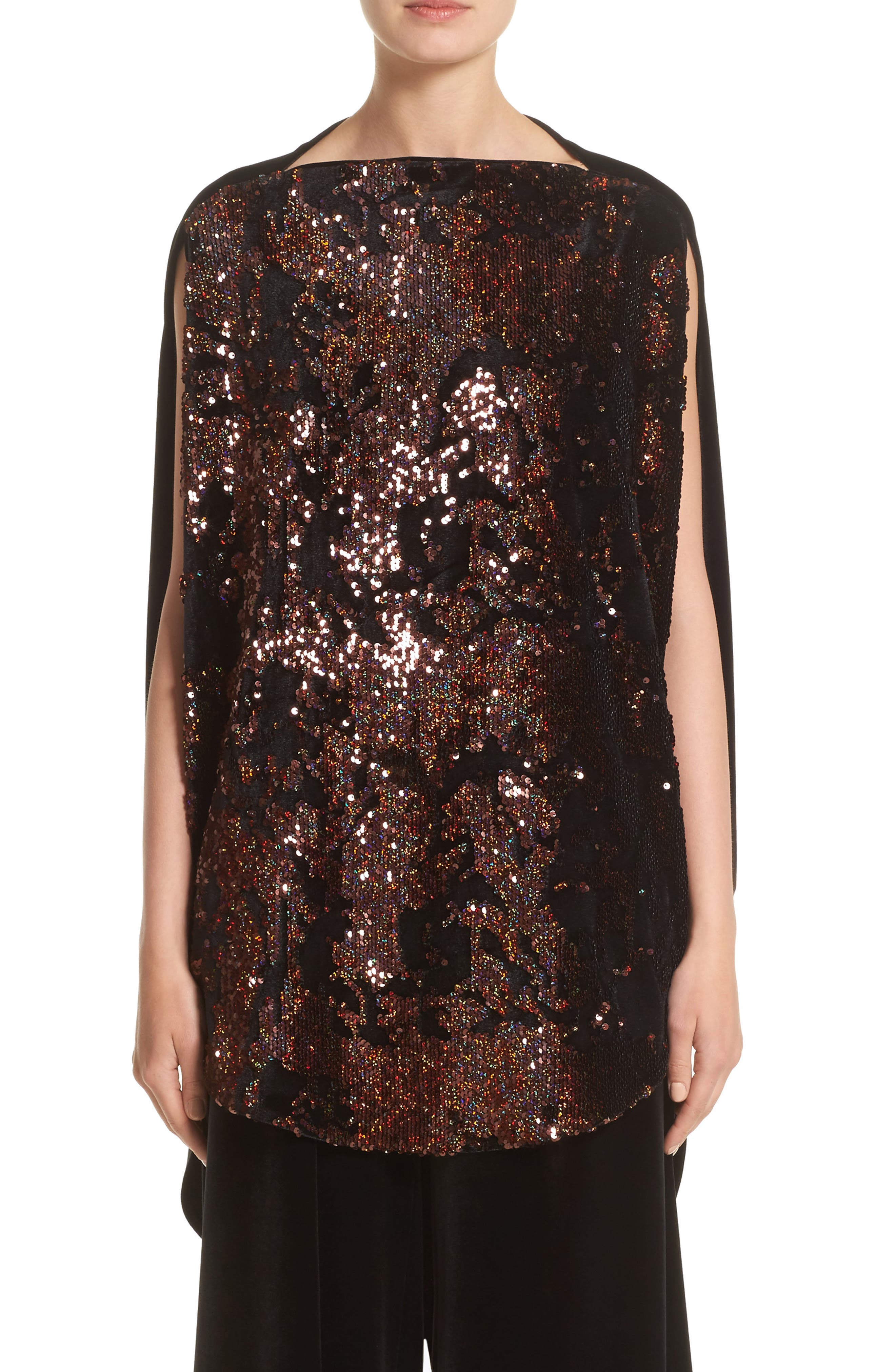 Talbot Runhof Sequin & Velvet High/Low Tunic