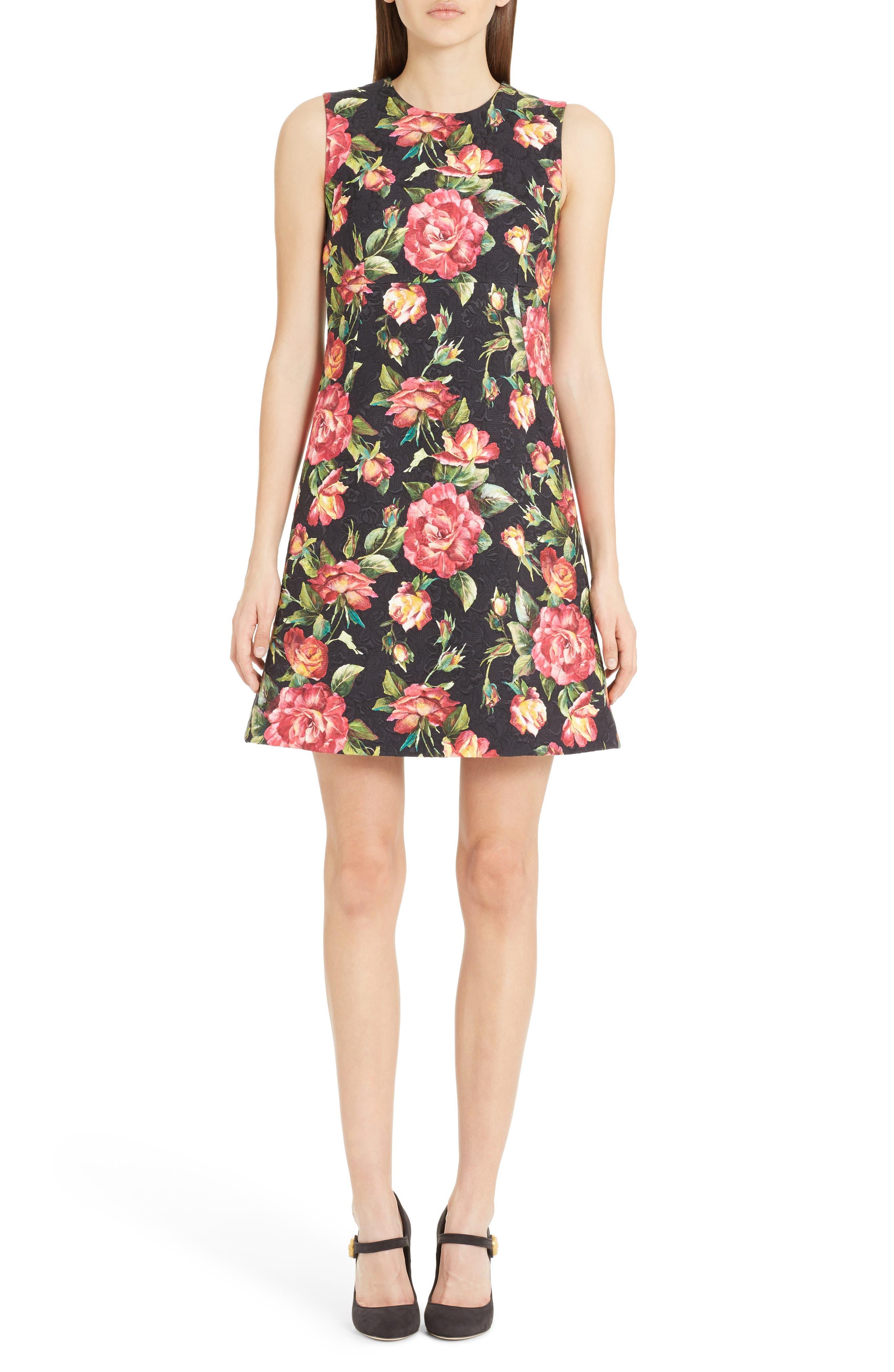 Dolce&Gabbana Rose Print Brocade A-Line Dress