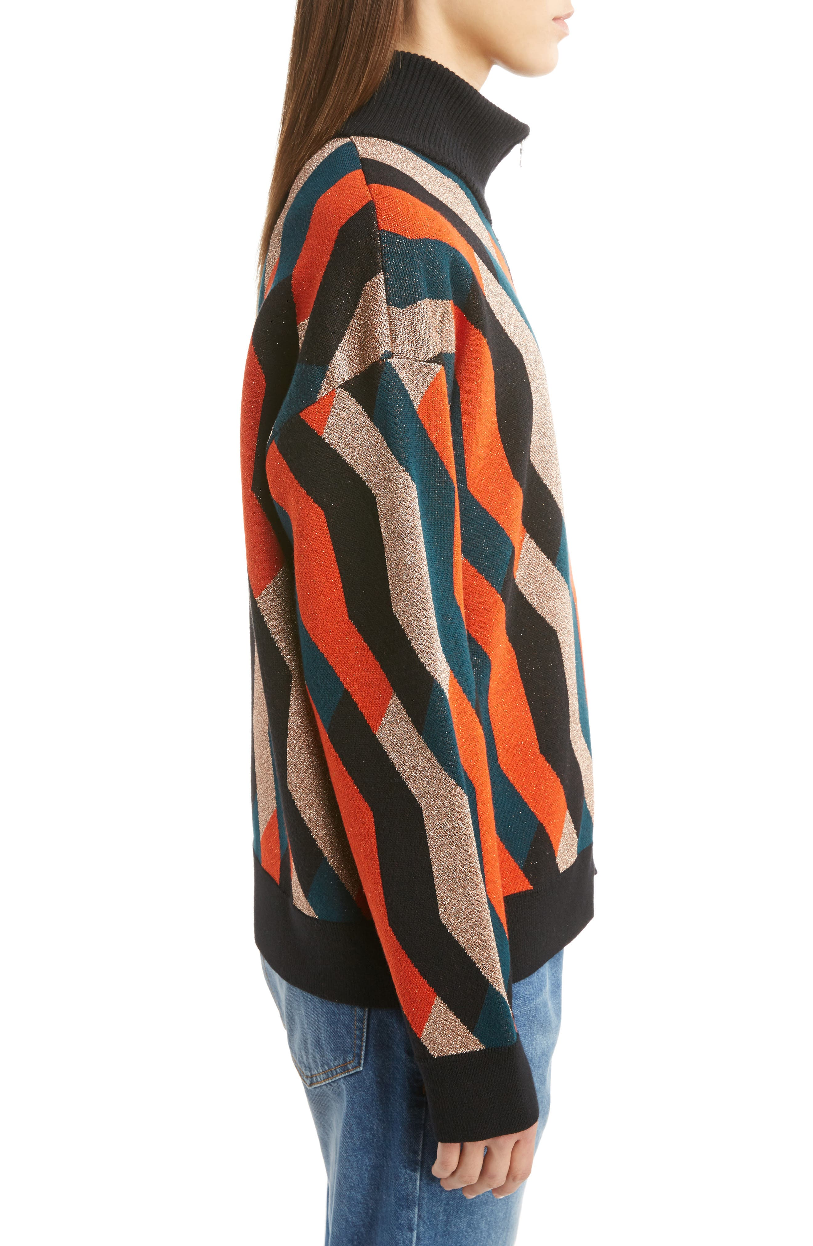 Graphic Knit Merino Wool Cardigan,                             Alternate thumbnail 4, color,                             Skin