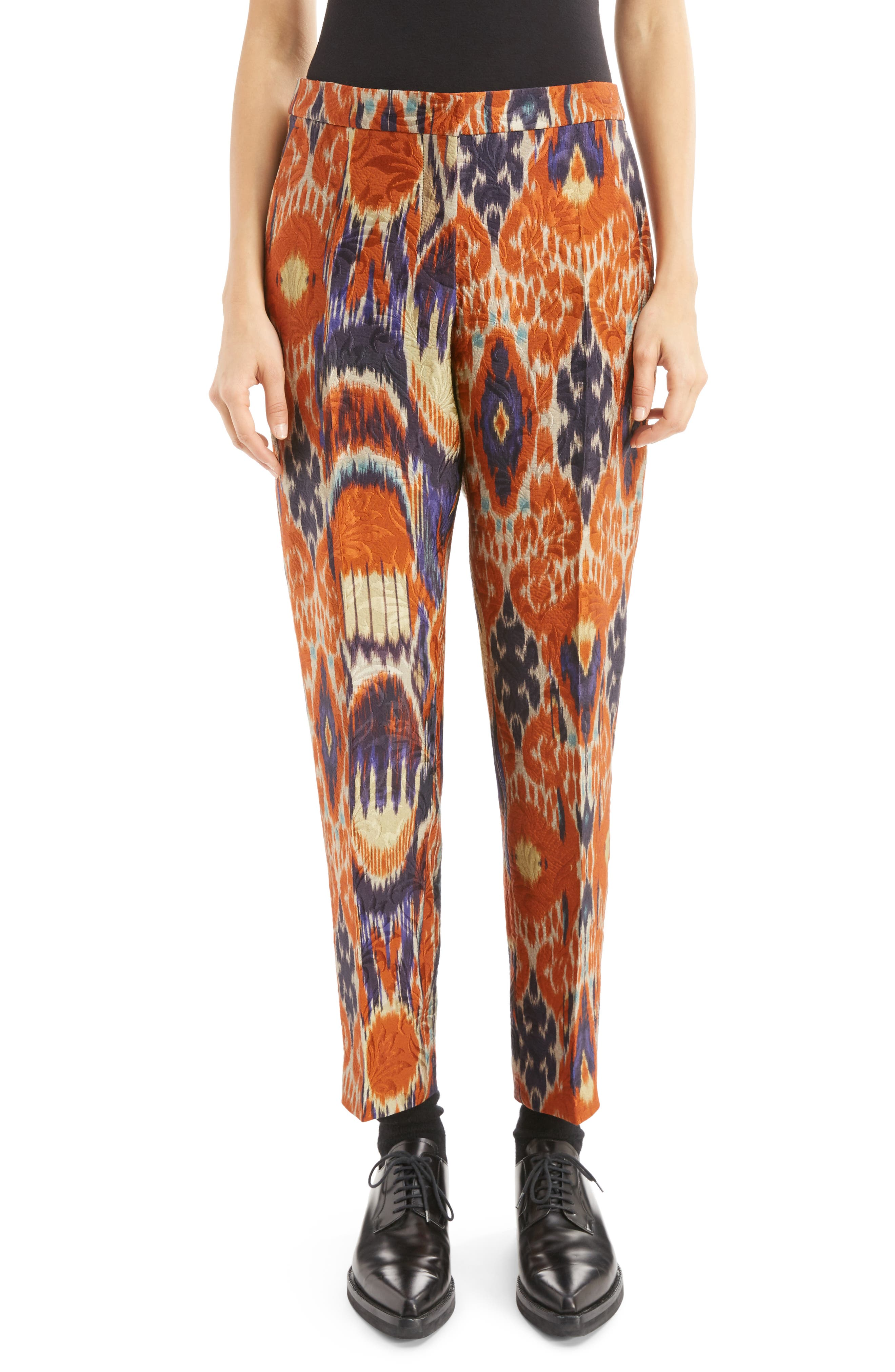Dries Van Noten Ikat Jacquard Ankle Trousers