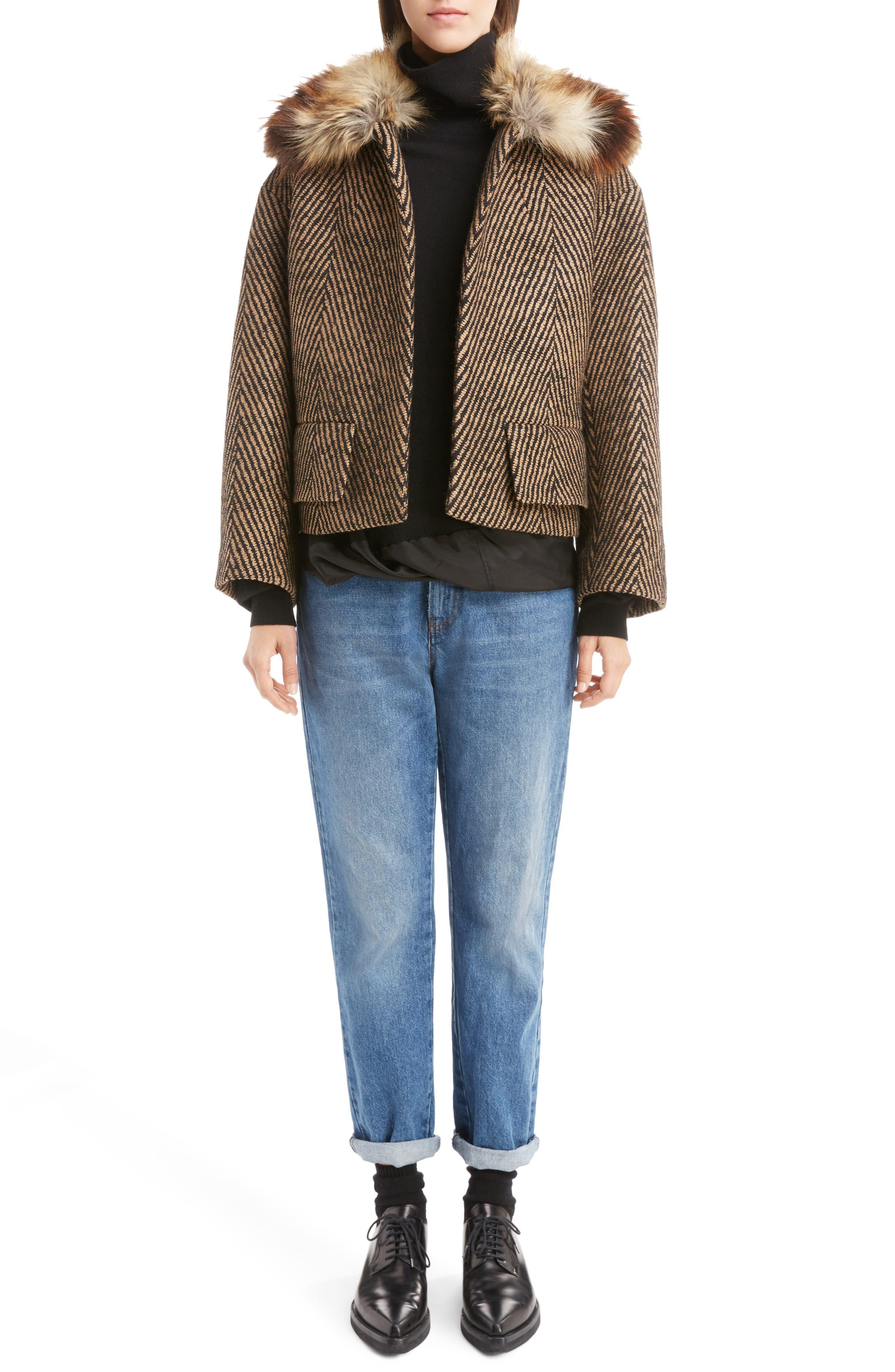 Faux Fur Collar Herringbone Coat,                             Alternate thumbnail 6, color,                             Camel