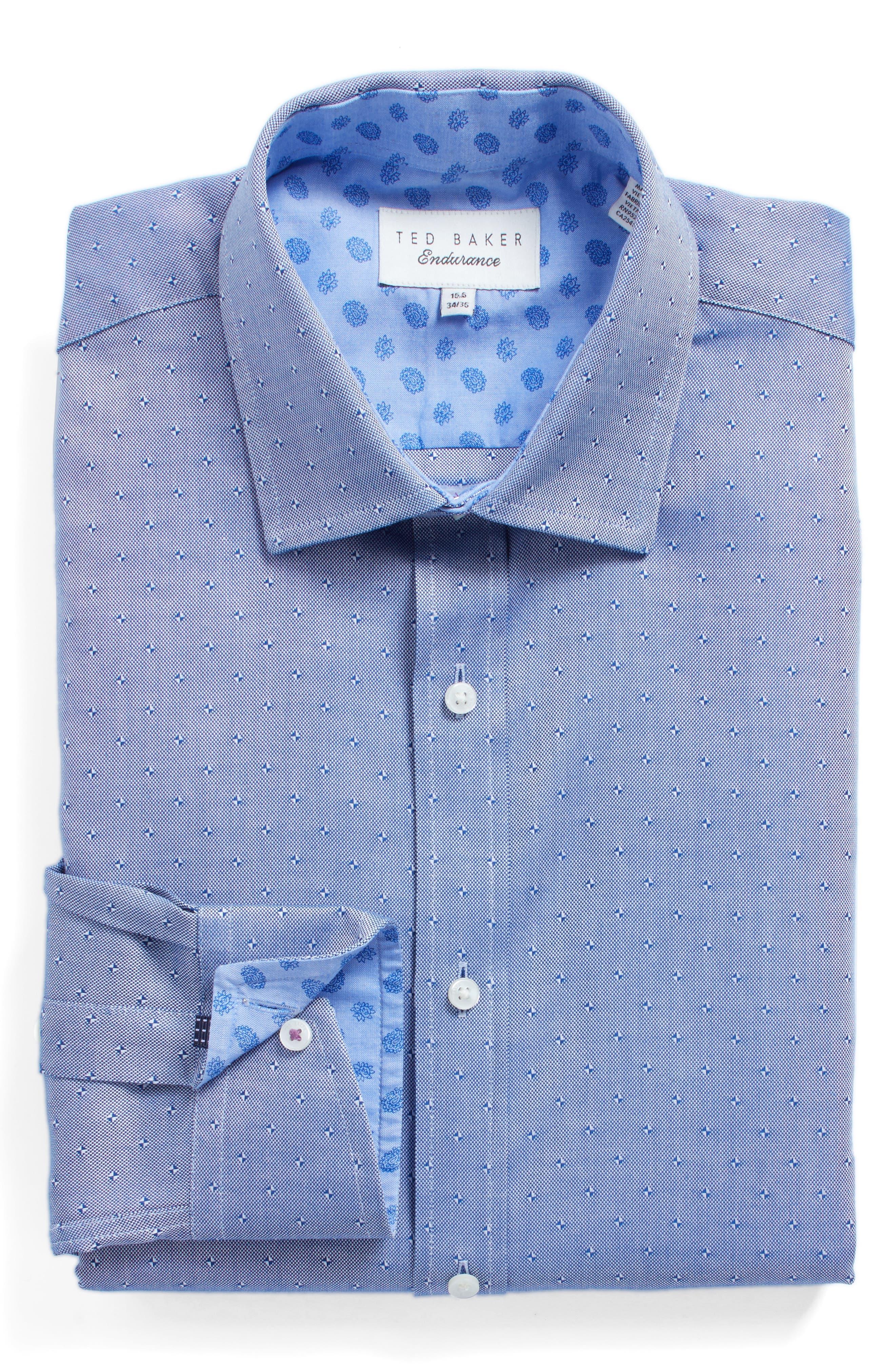 Jamer Trim Fit Dot Dress Shirt,                             Main thumbnail 1, color,                             Navy