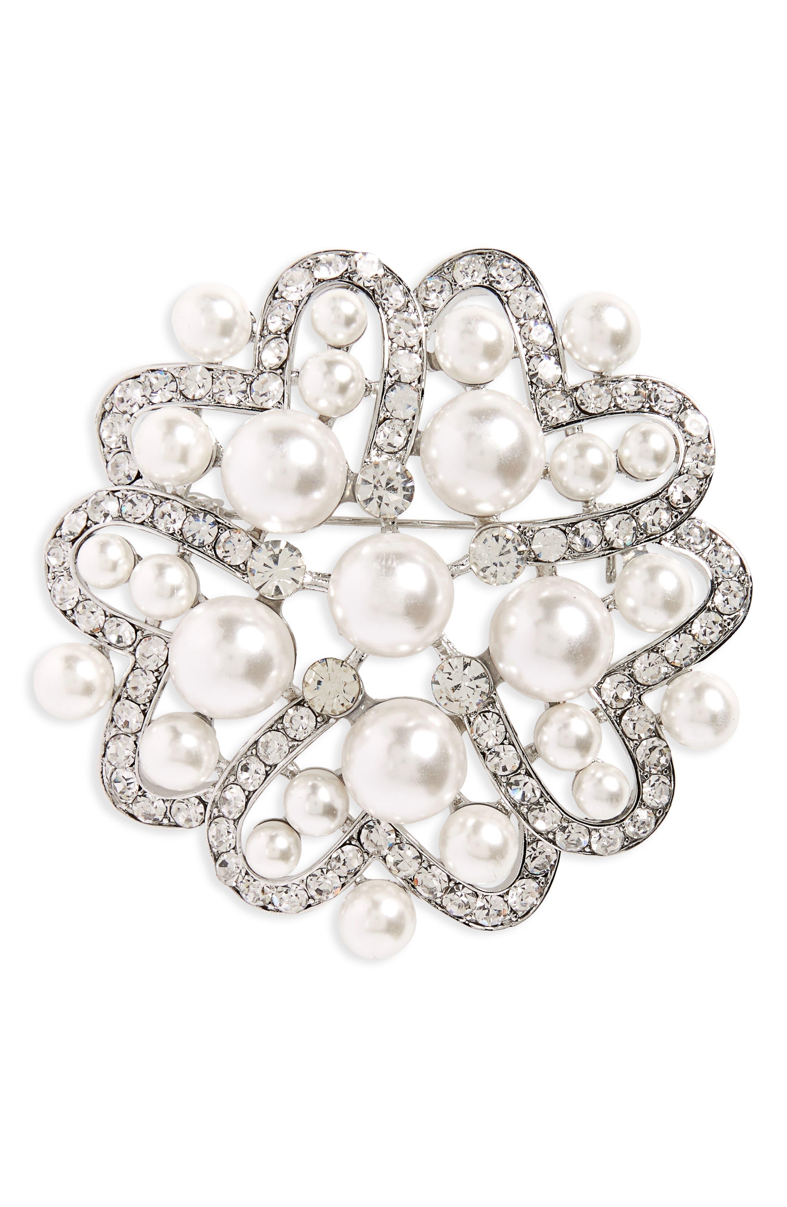 Imitation Pearl & Crystal Brooch,                             Main thumbnail 1, color,                             Ivory Pearl / Silver