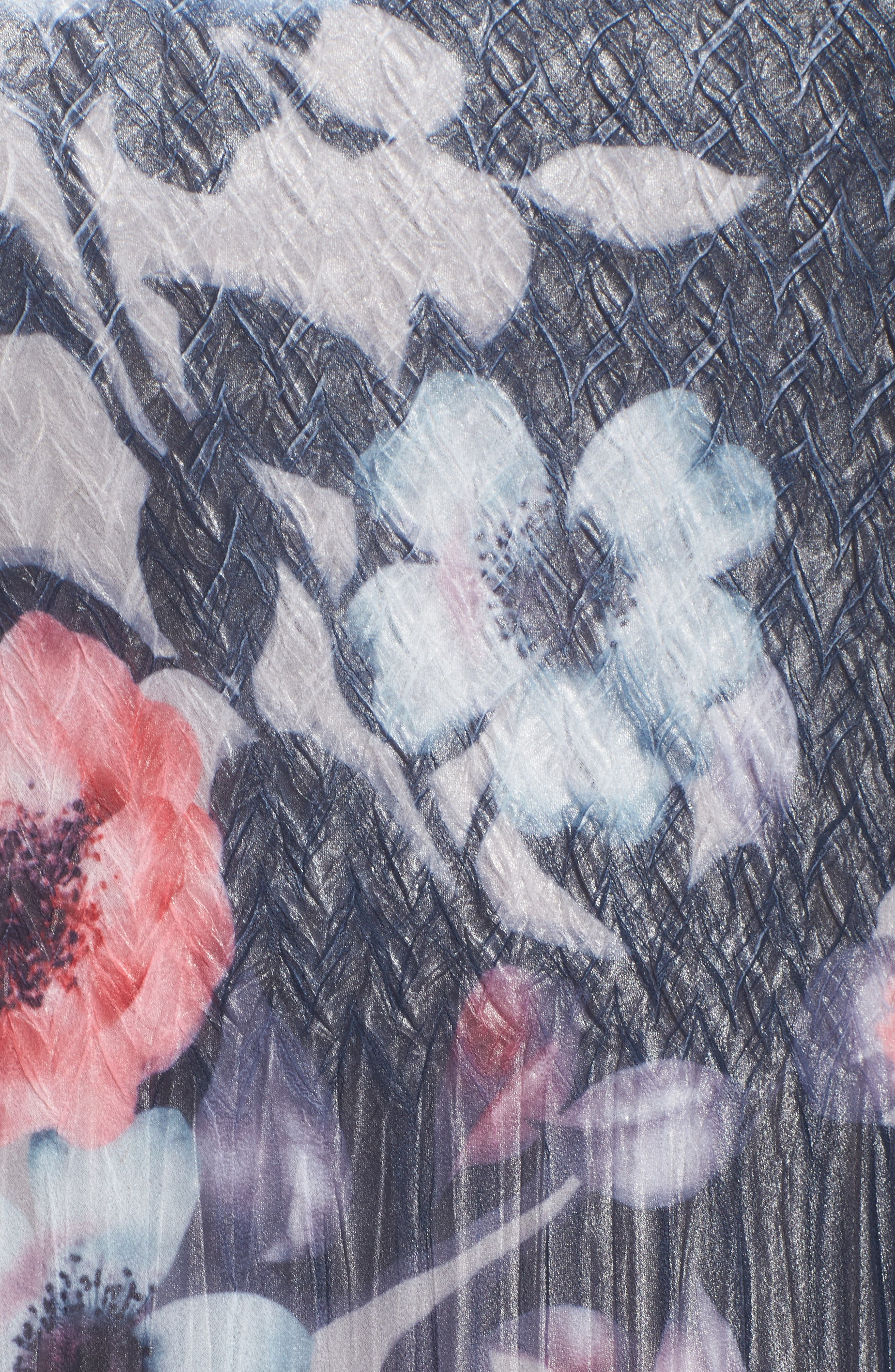 Handkerchief Hem Floral Charmeuse & Chiffon Dress,                             Alternate thumbnail 5, color,                             Celestial Vine