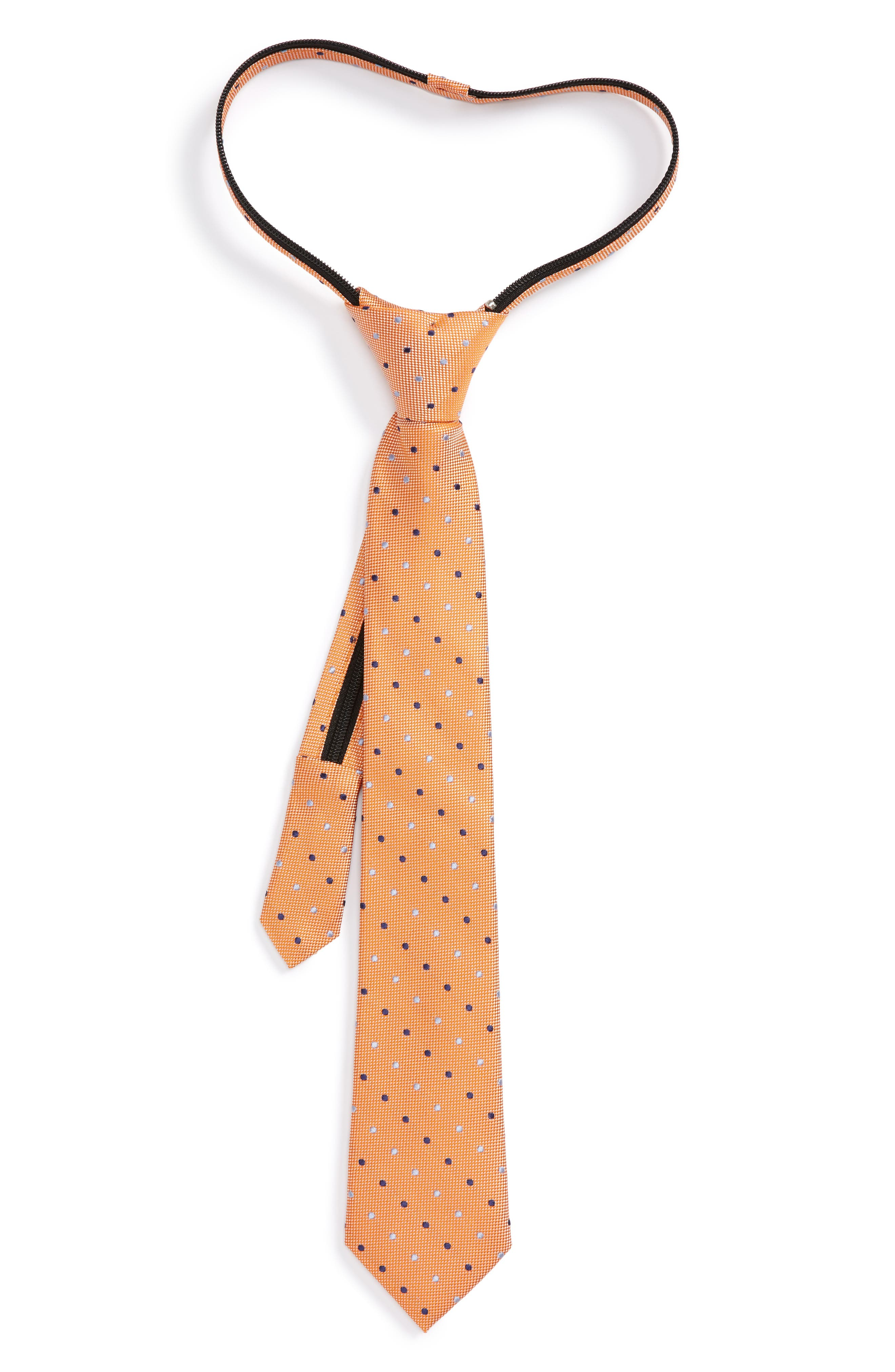 Alternate Image 1 Selected - Nordstrom Dot Zip Silk Tie (Big Boys)