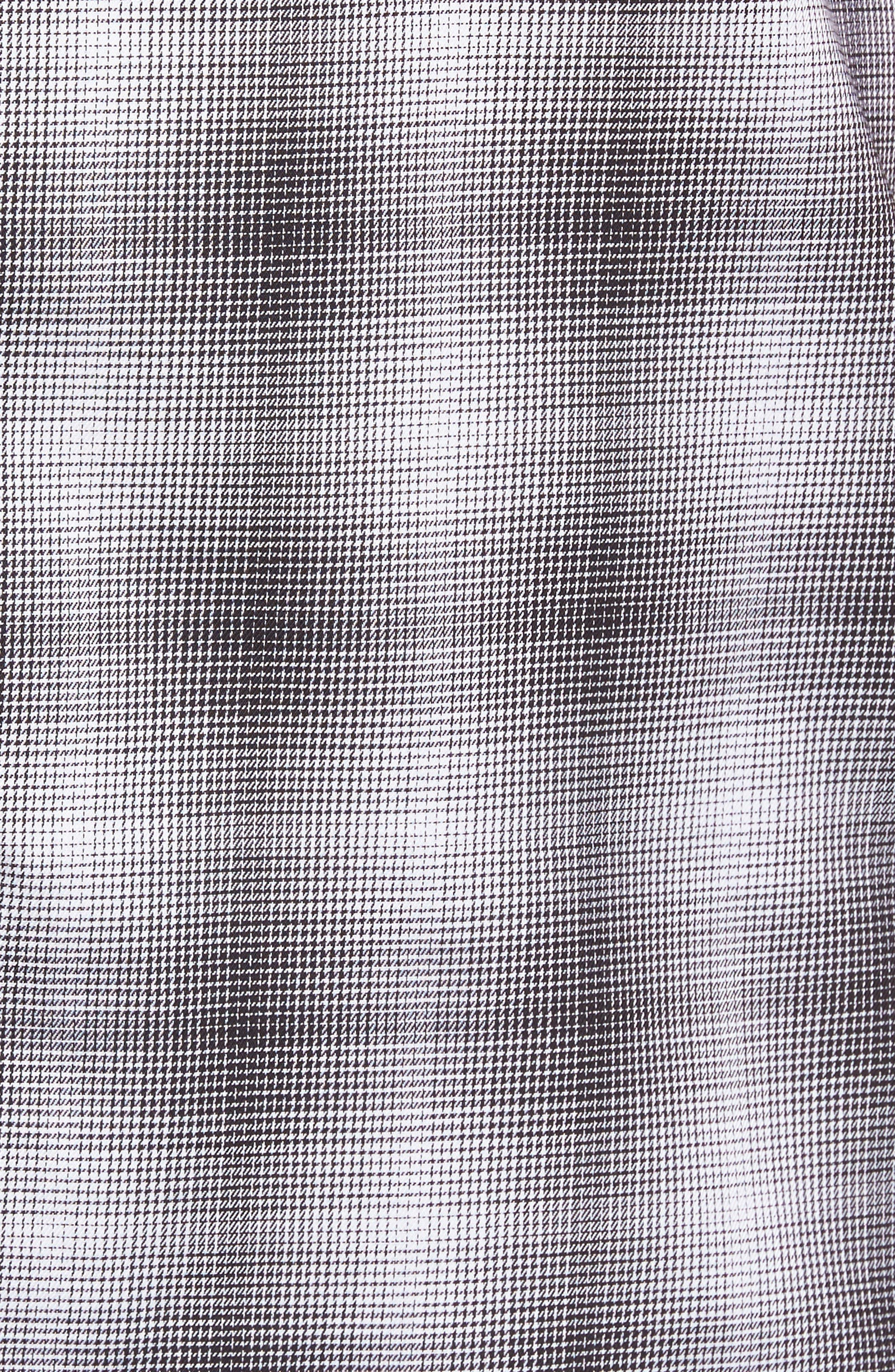 Non-Iron Moiré Plaid Woven Shirt,                             Alternate thumbnail 6, color,                             Black Houndstooth Plaid