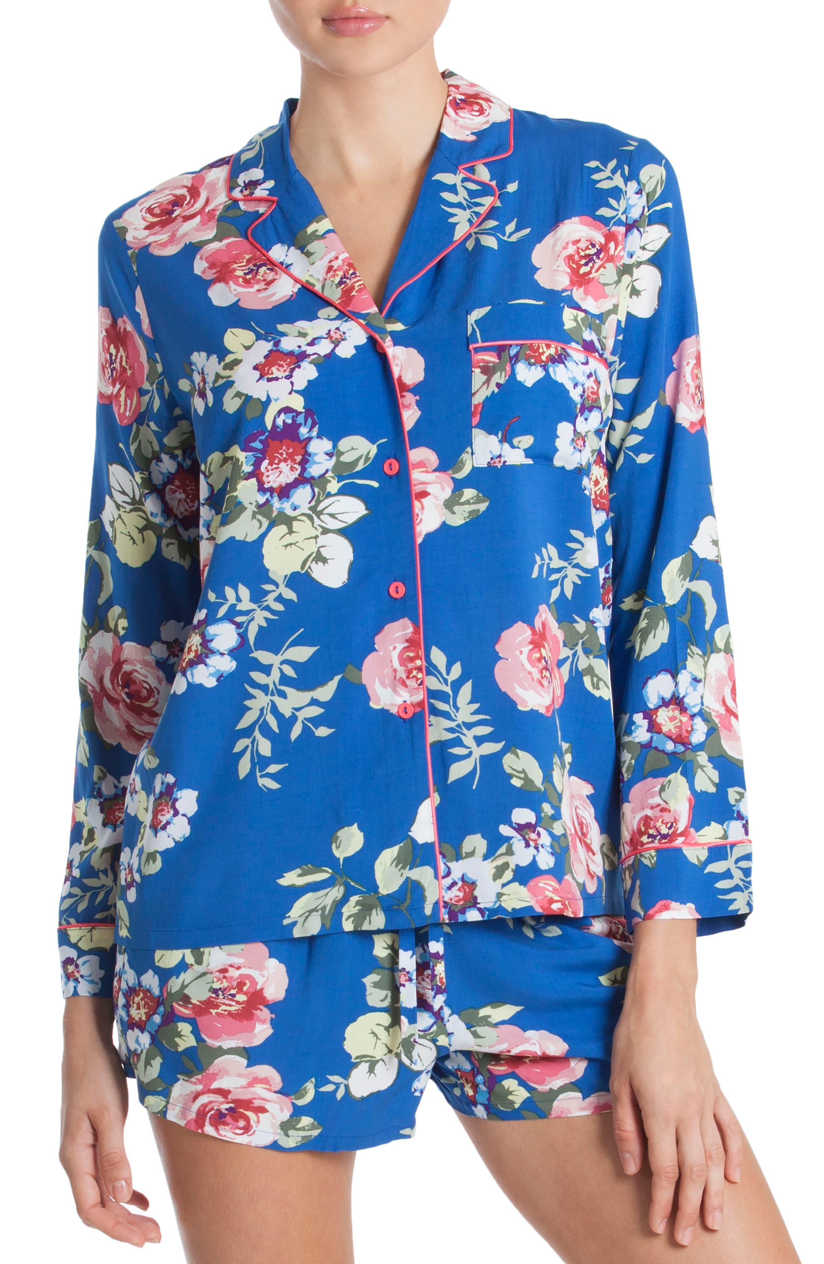 Short Pajamas,                             Main thumbnail 1, color,                             Blue Floral