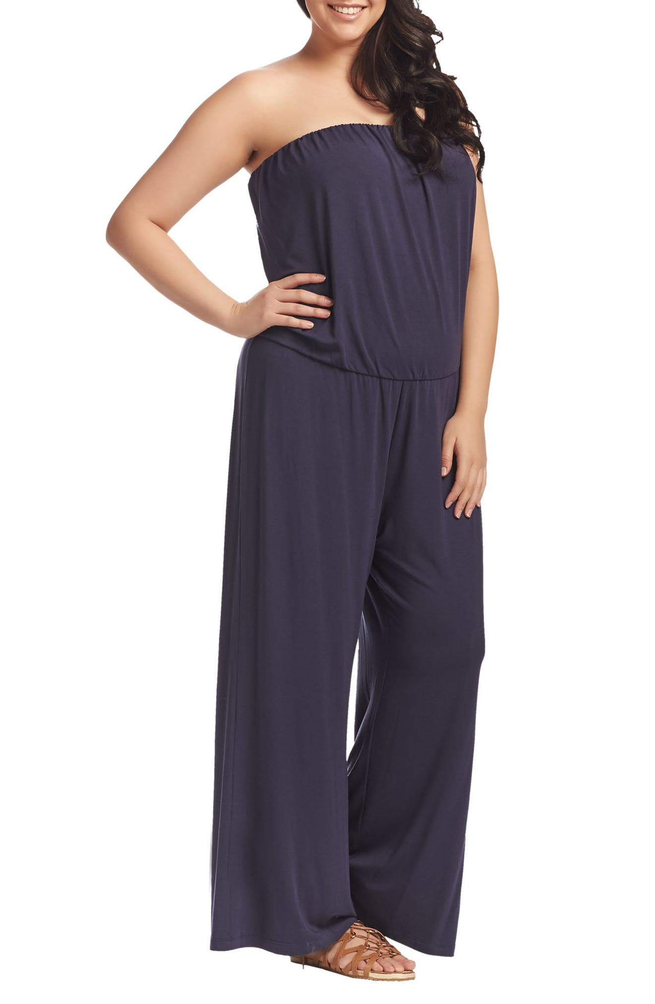 Valerie Strapless Jumpsuit,                             Alternate thumbnail 3, color,                             Peacoat