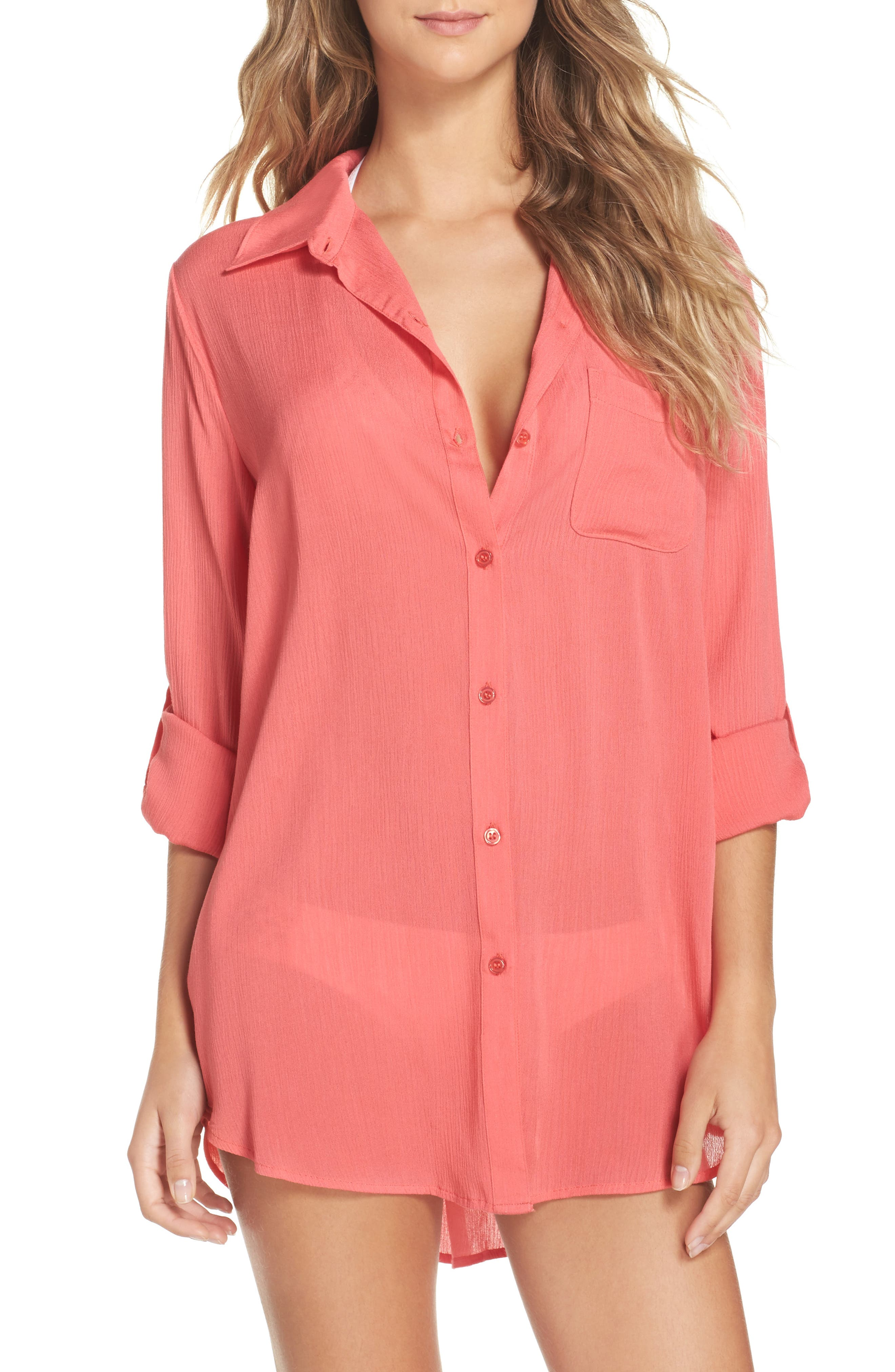 Big Sur Cover-Up Tunic,                             Main thumbnail 1, color,                             Coral