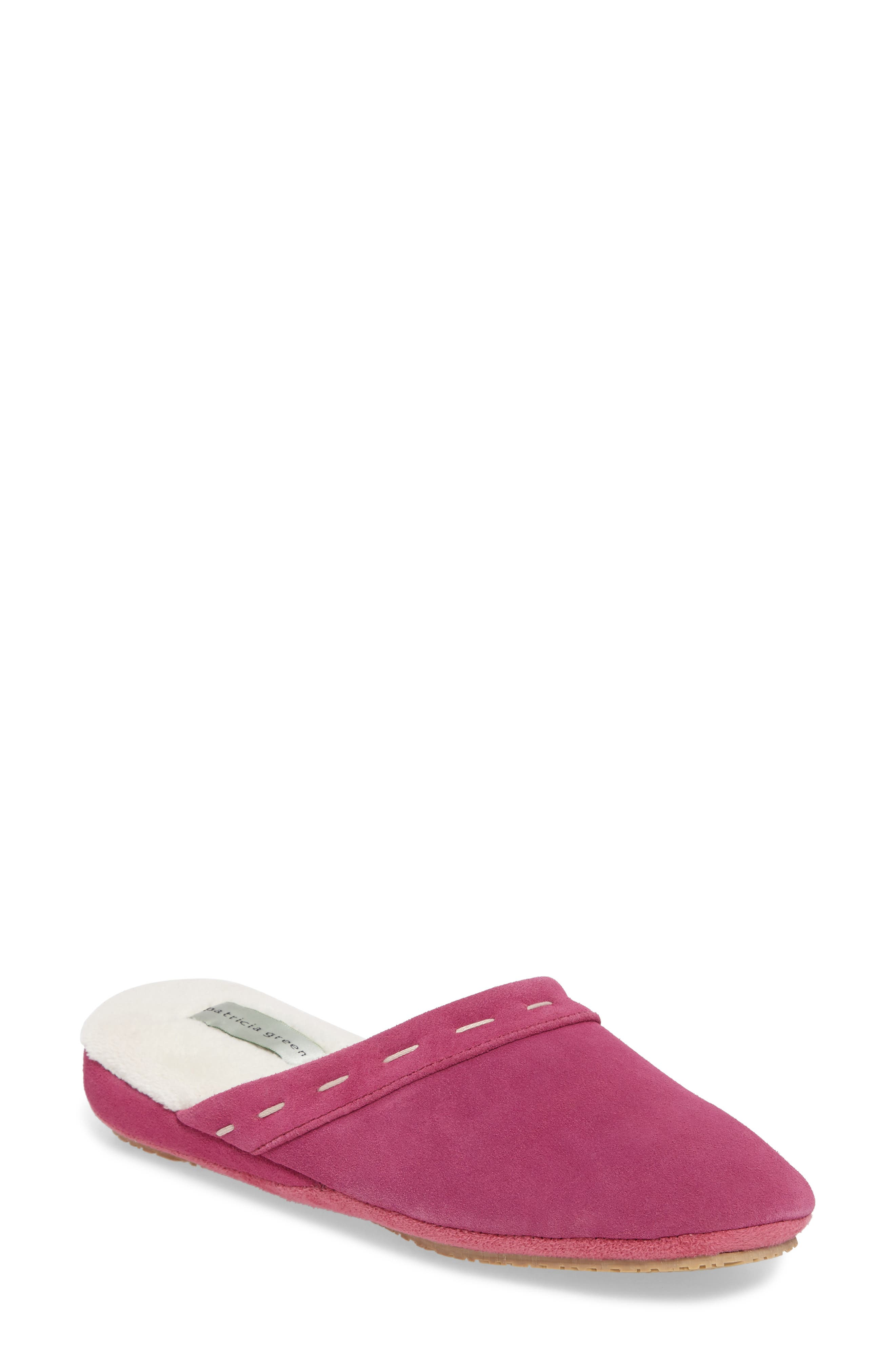 Mayfair Wedge Slipper,                             Main thumbnail 1, color,                             Hot Pink Suede