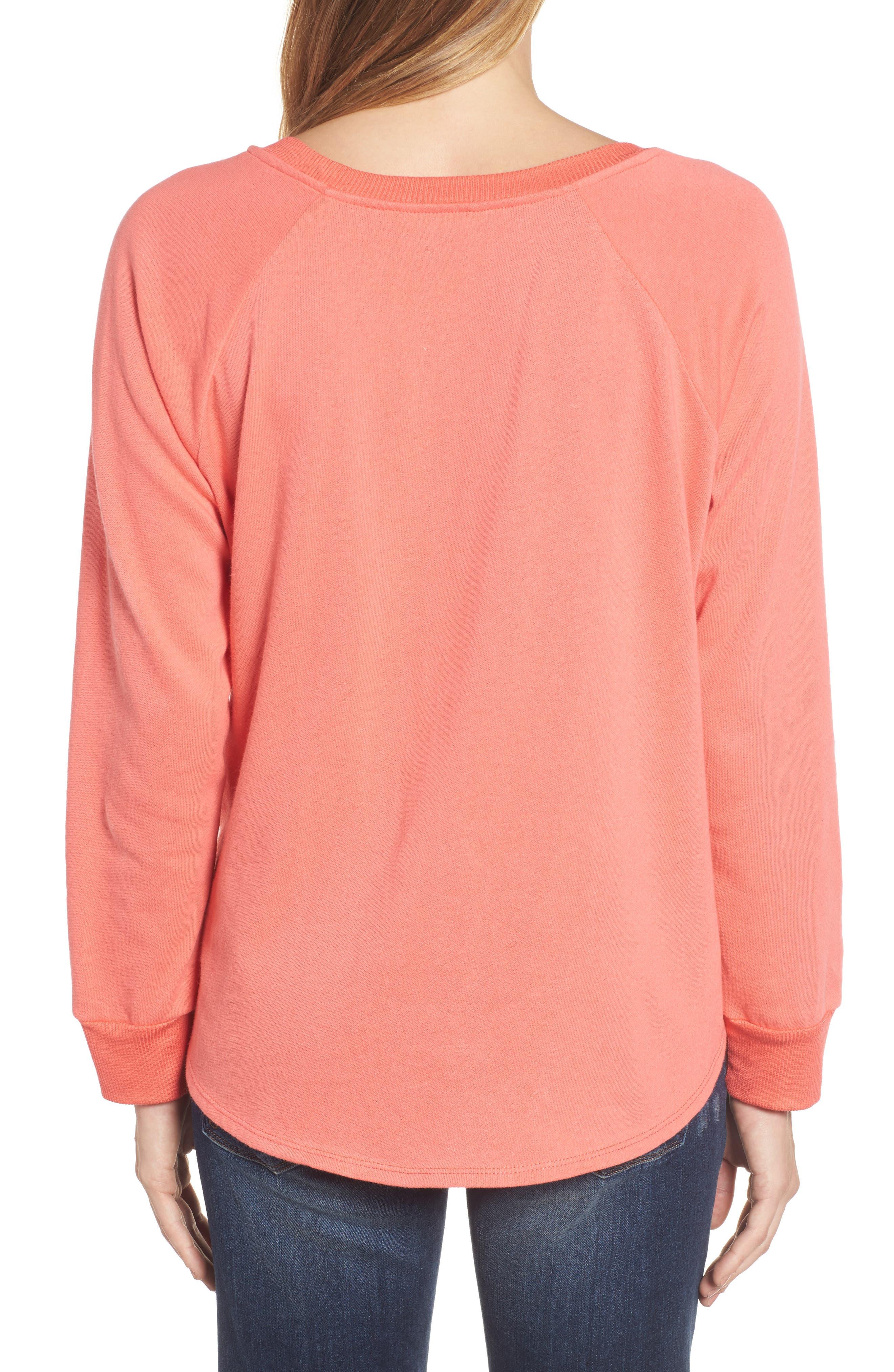 Alternate Image 2  - Caslon® Tie Front Cotton Blend Sweatshirt (Regular & Petite)