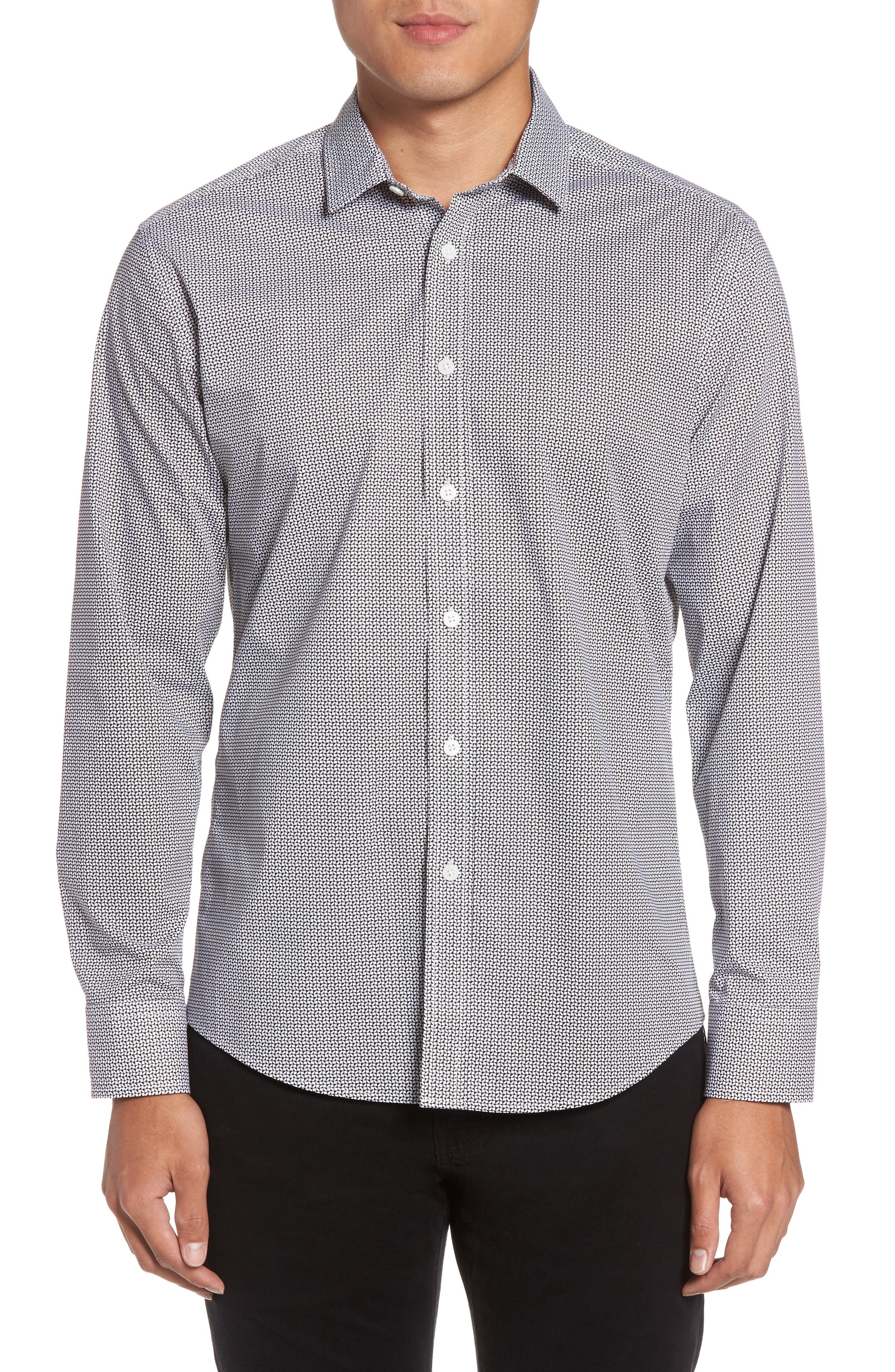 Vince Camuto Trim Fit Geo Print Sport Shirt