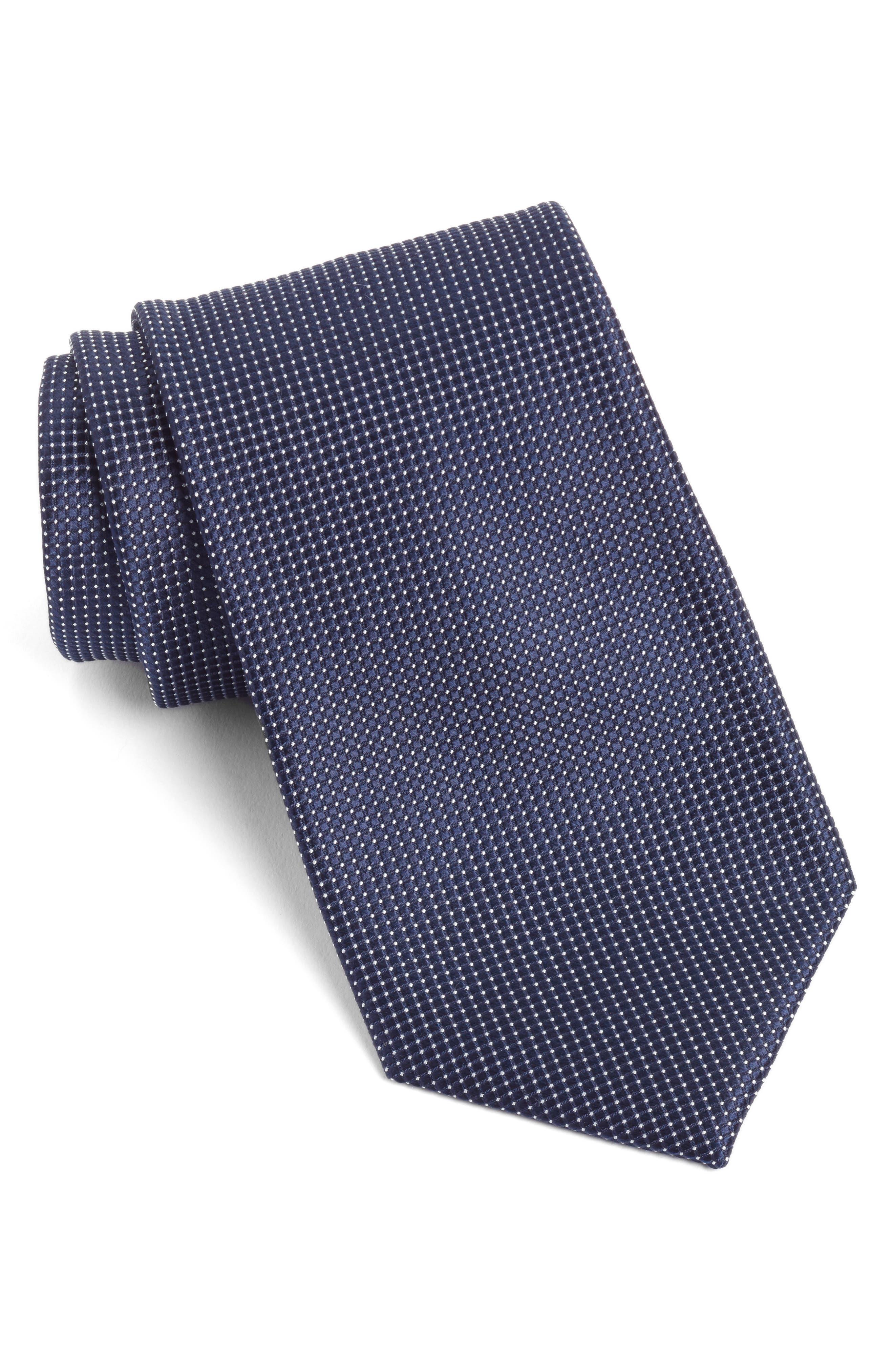 Micro Pin Dot Silk Tie,                         Main,                         color, Navy