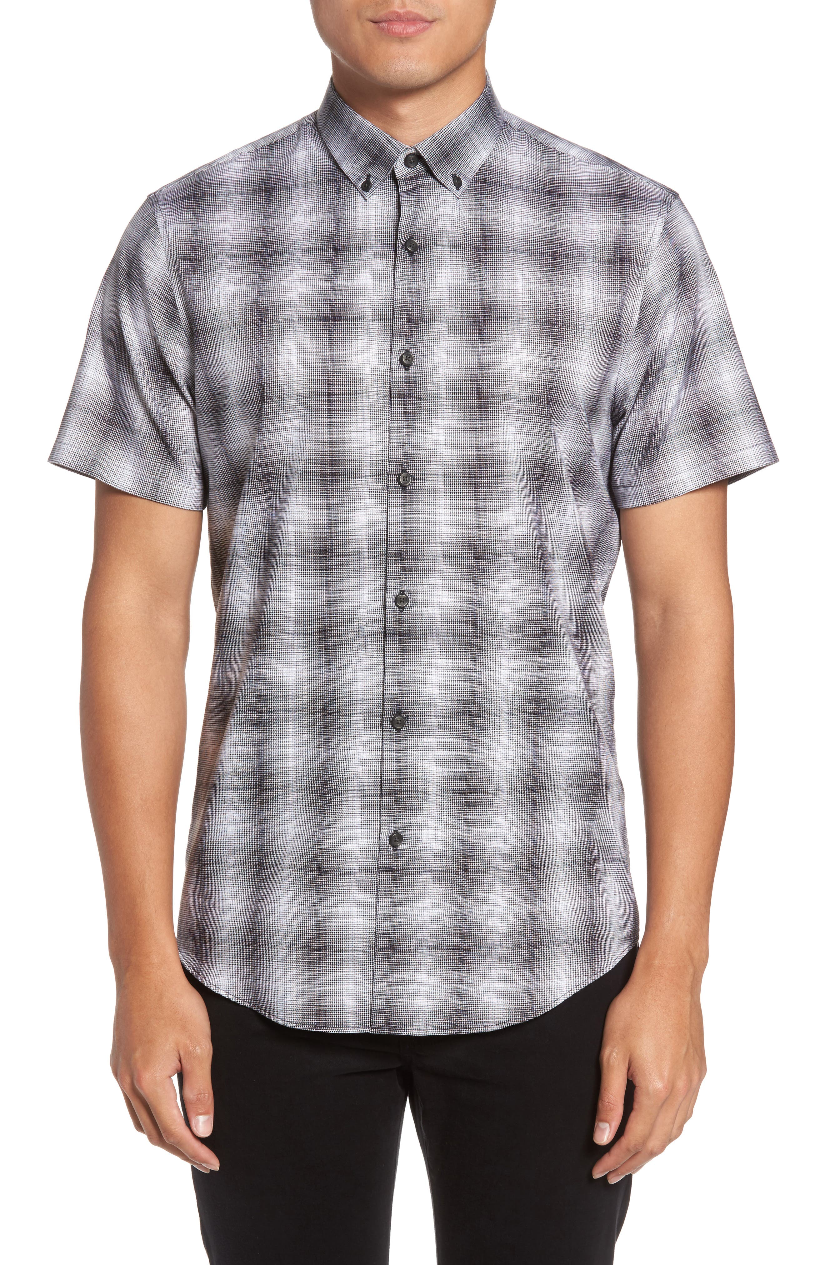 Non-Iron Moiré Plaid Woven Shirt,                             Main thumbnail 1, color,                             Black Houndstooth Plaid