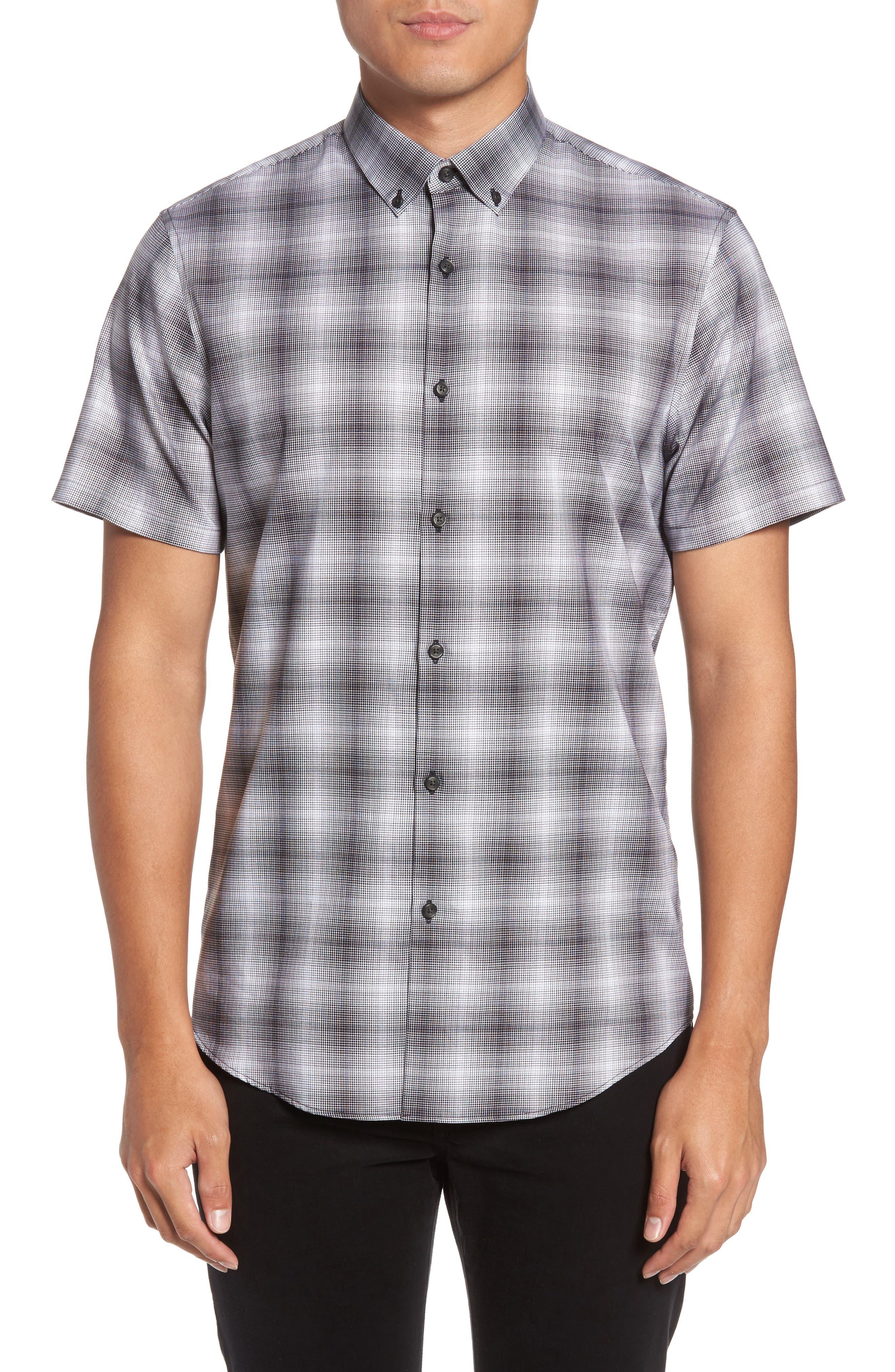 Non-Iron Moiré Plaid Woven Shirt,                         Main,                         color, Black Houndstooth Plaid