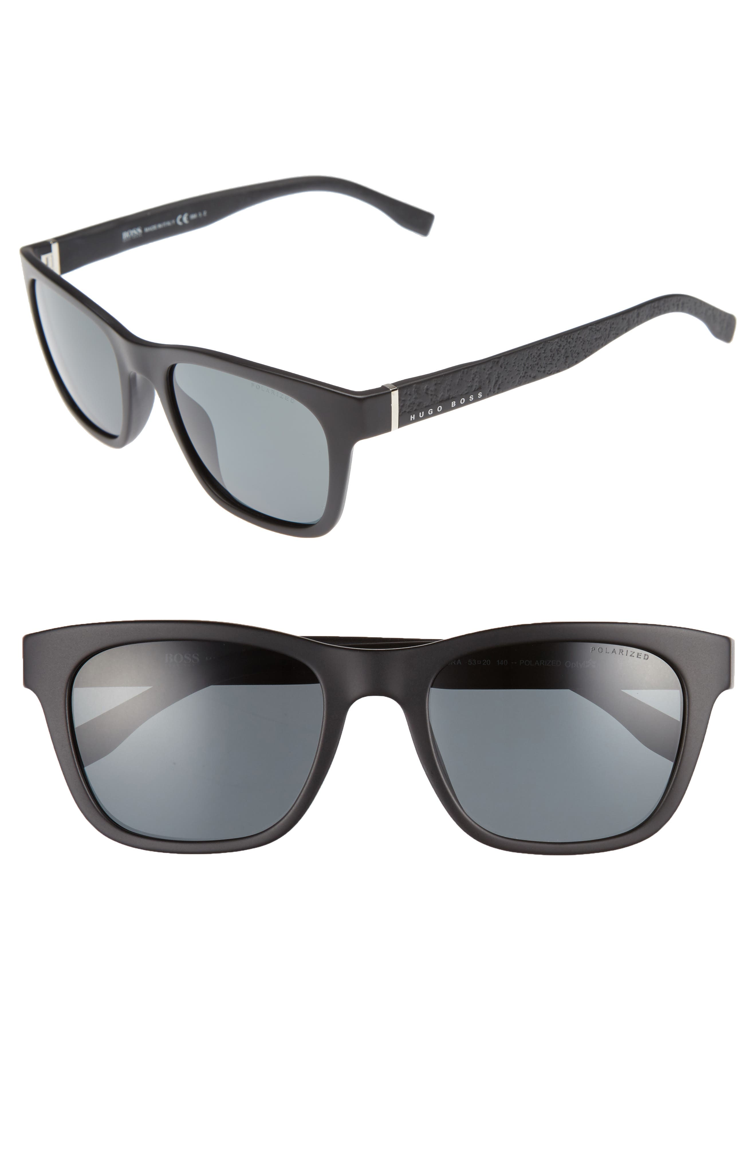 53mm Polarized Sunglasses,                             Main thumbnail 1, color,                             Matte Black/ Grey