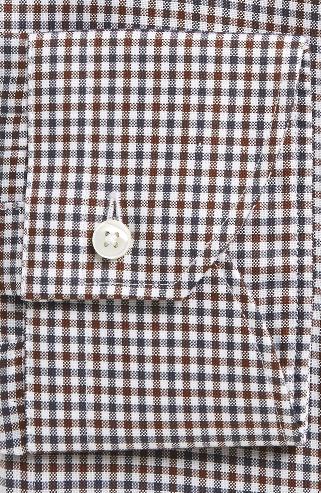 Regular Fit Check Dress Shirt,                             Alternate thumbnail 2, color,                             Brown Check