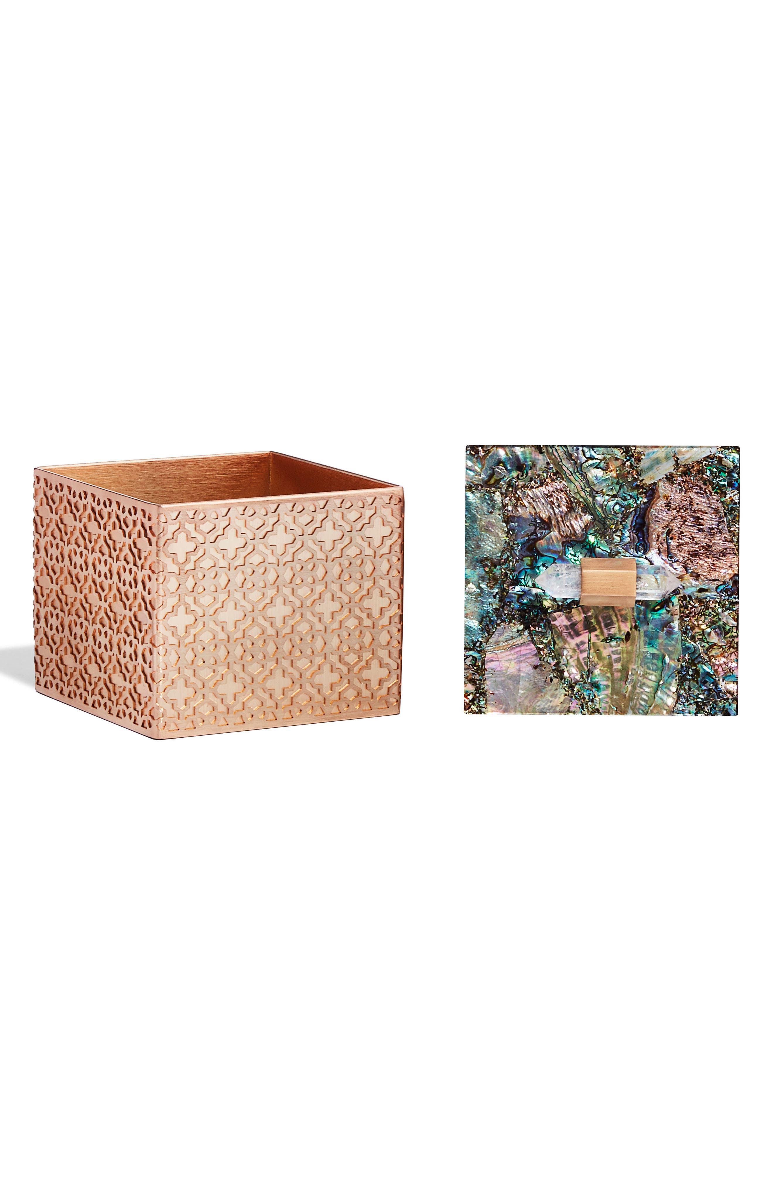 Square Filigree Stone Box,                             Alternate thumbnail 2, color,                             Crackle Abalone