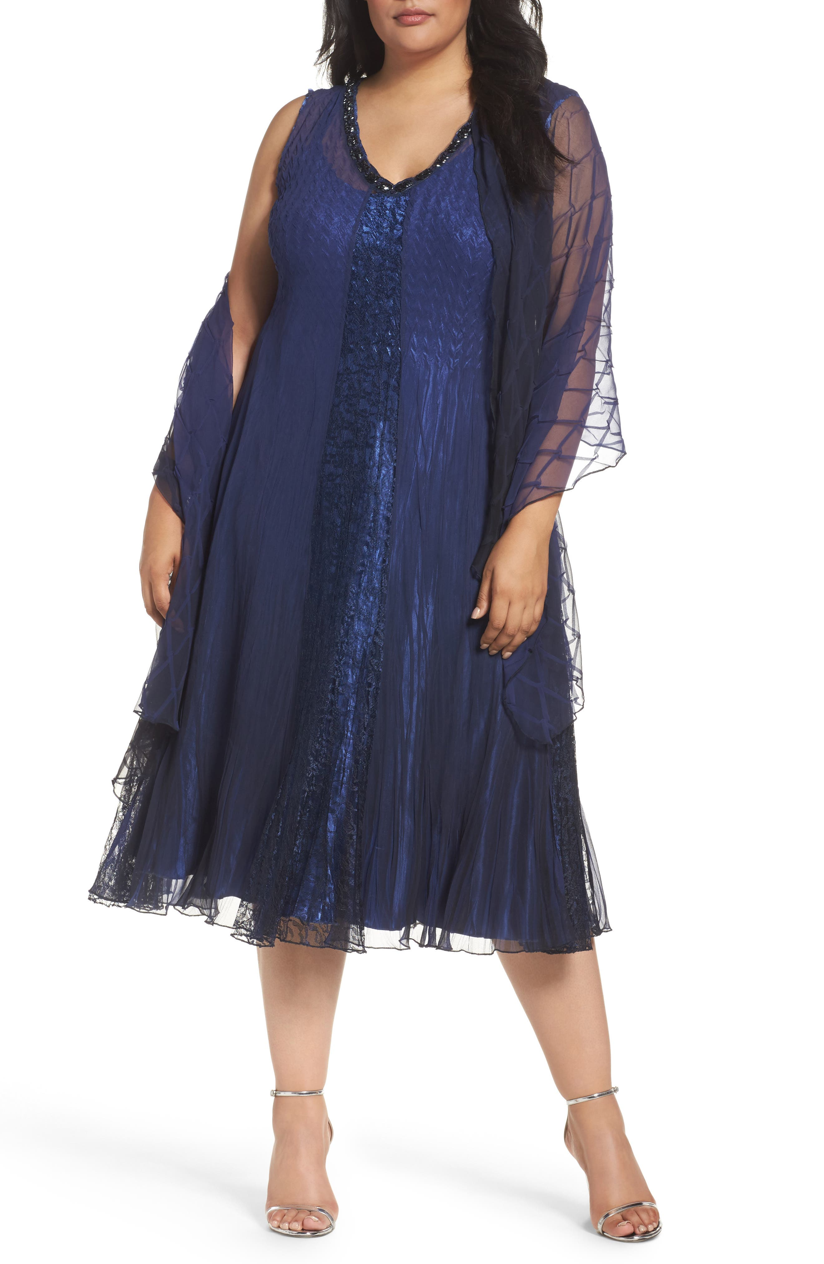 Komarov Embellished Mixed Media A-Line Dress with Wrap (Plus Size)