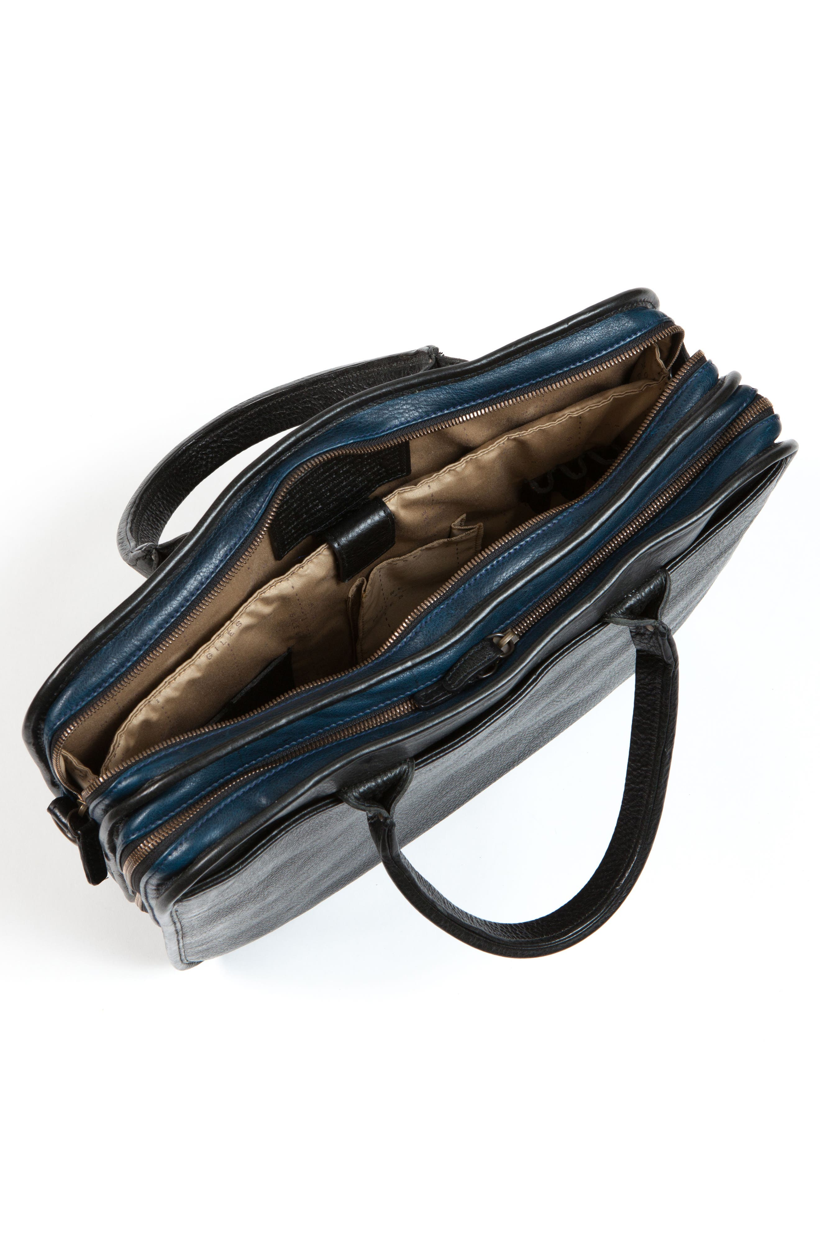 Miller Leather Briefcase,                             Alternate thumbnail 4, color,                             Titan Milled Navy And Gunmetal