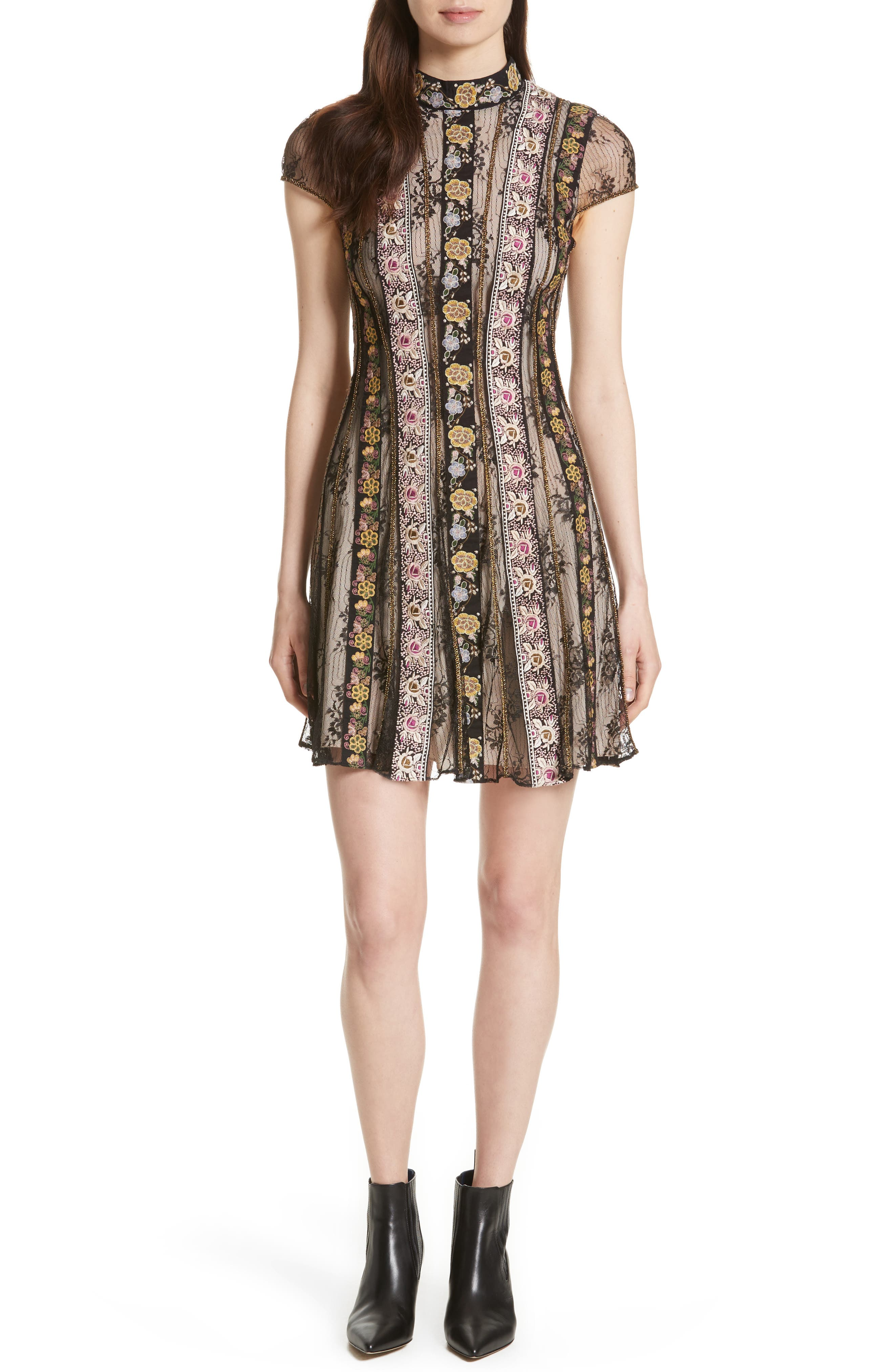 Gwyneth Embroidered Floral Dress,                             Main thumbnail 1, color,                             Black/ Multi