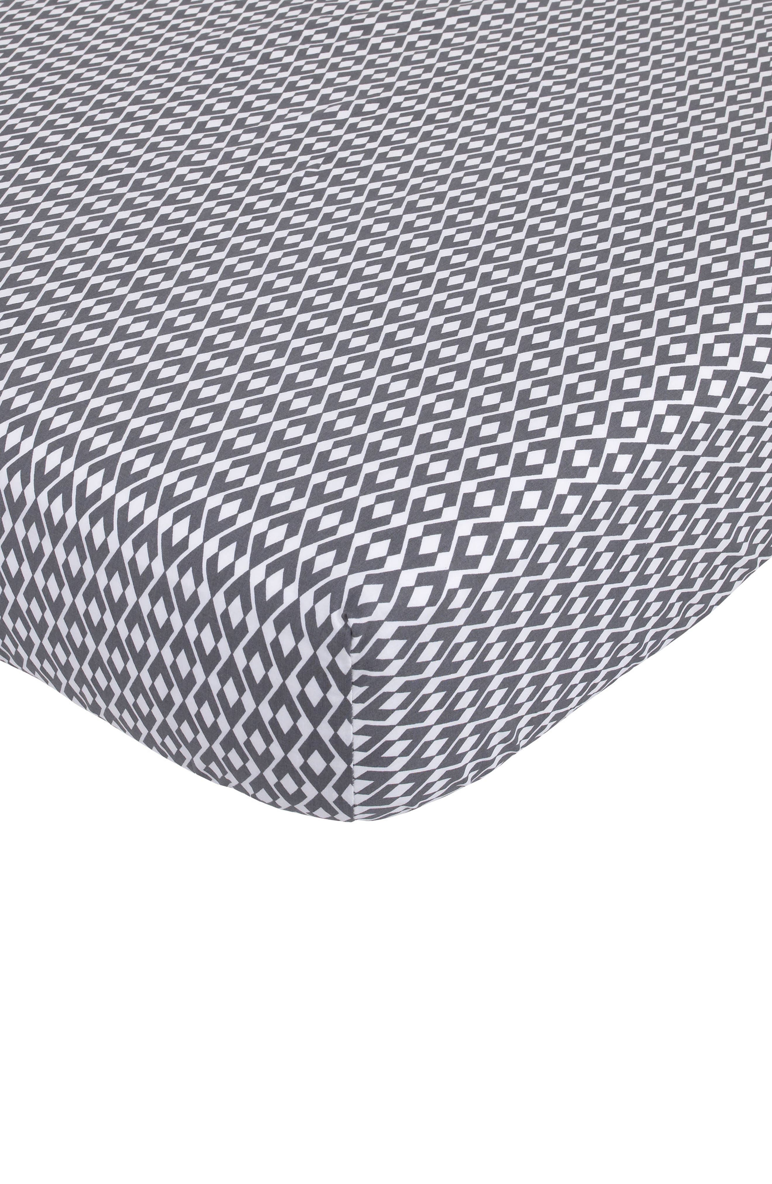 Southwest Skies Fitted Crib Sheet,                         Main,                         color, Grey