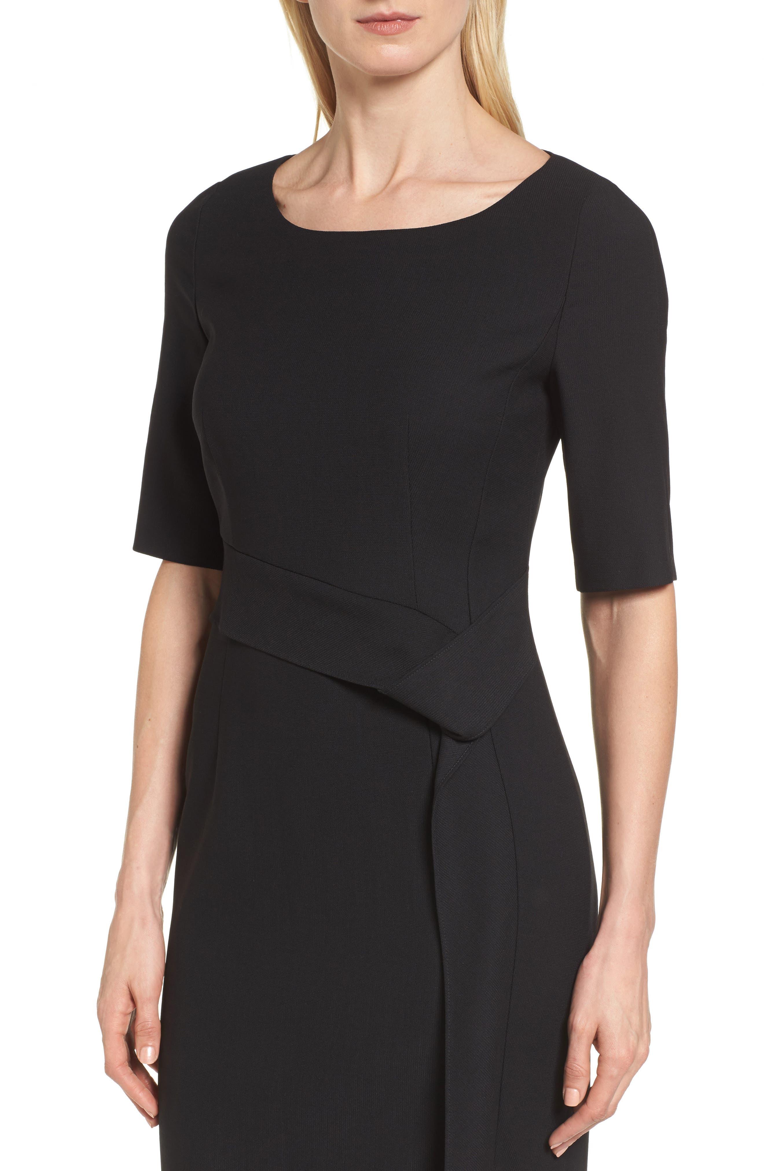 Delera Stretch Wool Sheath Dress,                             Alternate thumbnail 4, color,                             Black