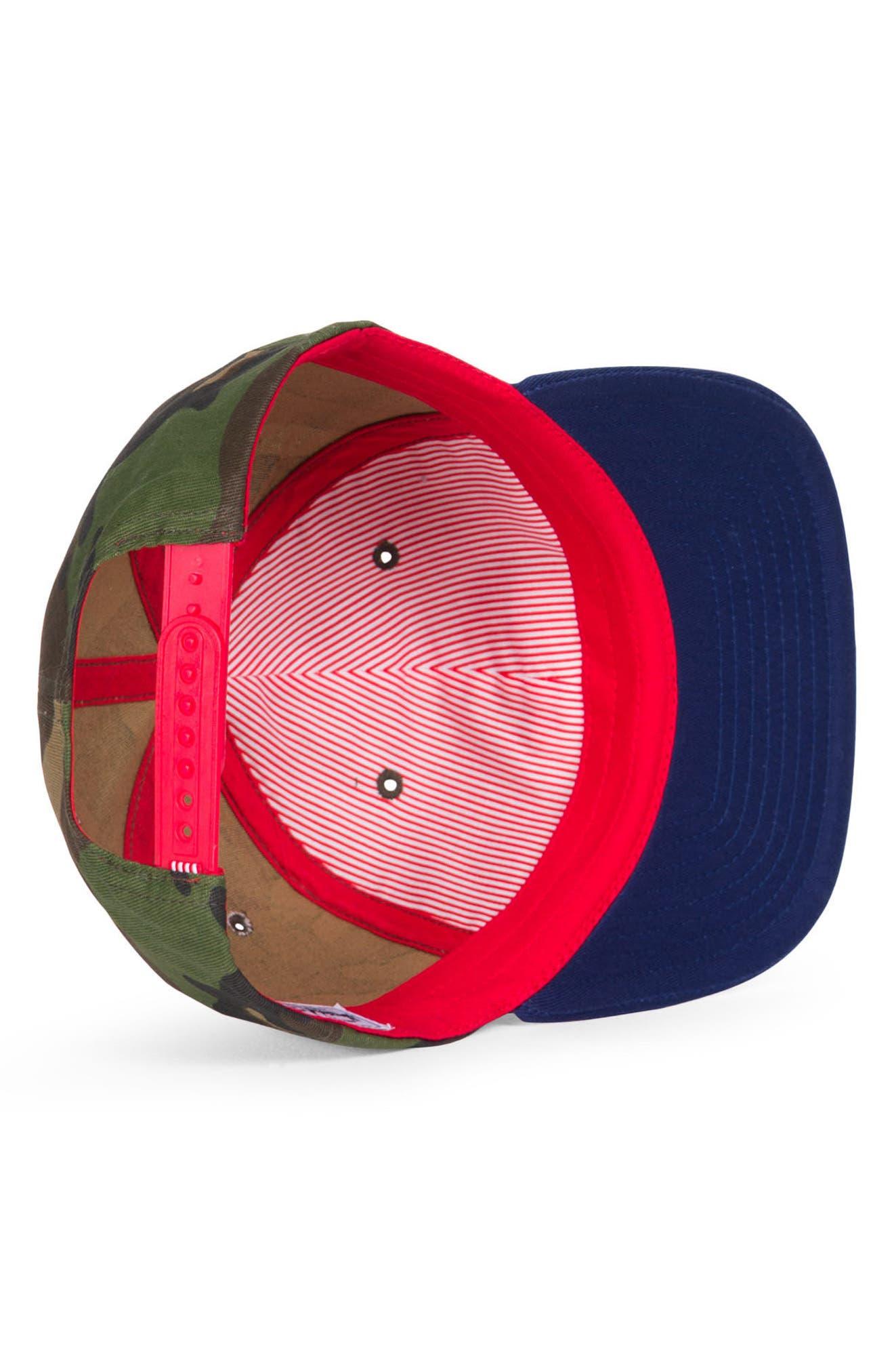 Mosby Camo Snapback Baseball Cap,                             Alternate thumbnail 3, color,                             Woodland Camo/ Navy/ Red