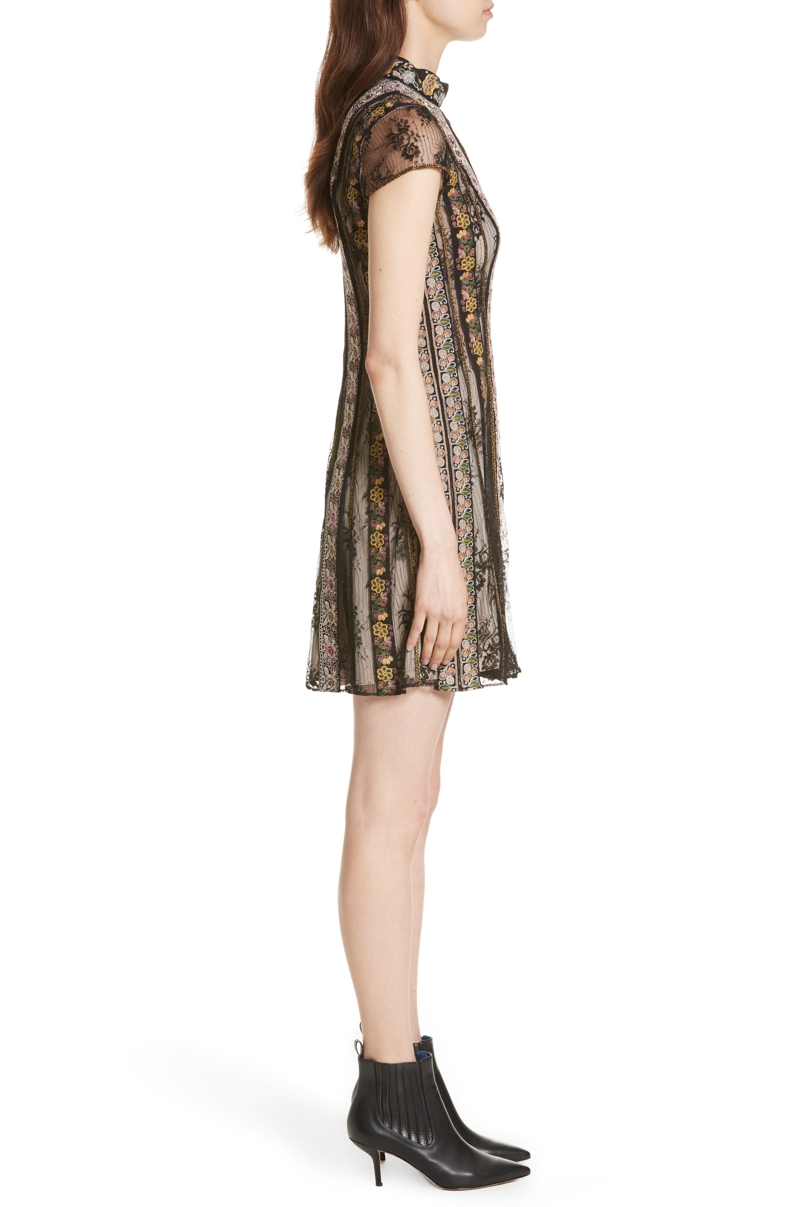 Gwyneth Embroidered Floral Dress,                             Alternate thumbnail 3, color,                             Black/ Multi