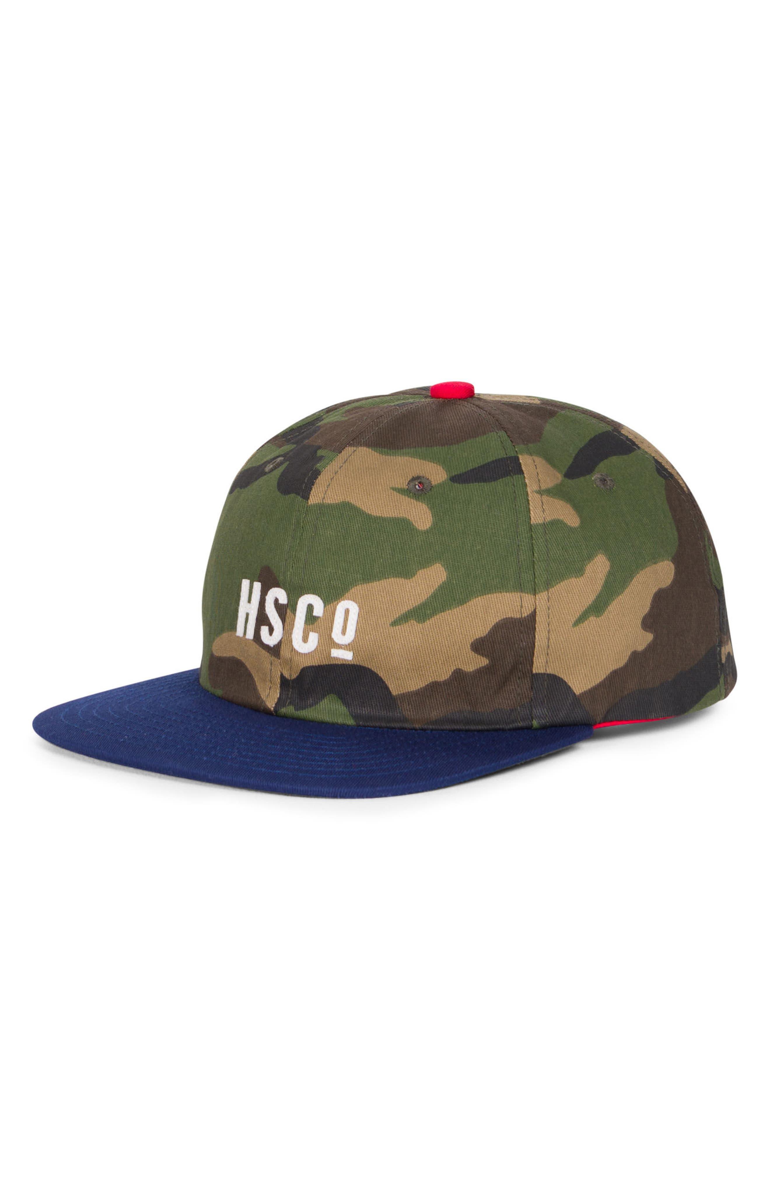 Mosby Camo Snapback Baseball Cap,                             Main thumbnail 1, color,                             Woodland Camo/ Navy/ Red