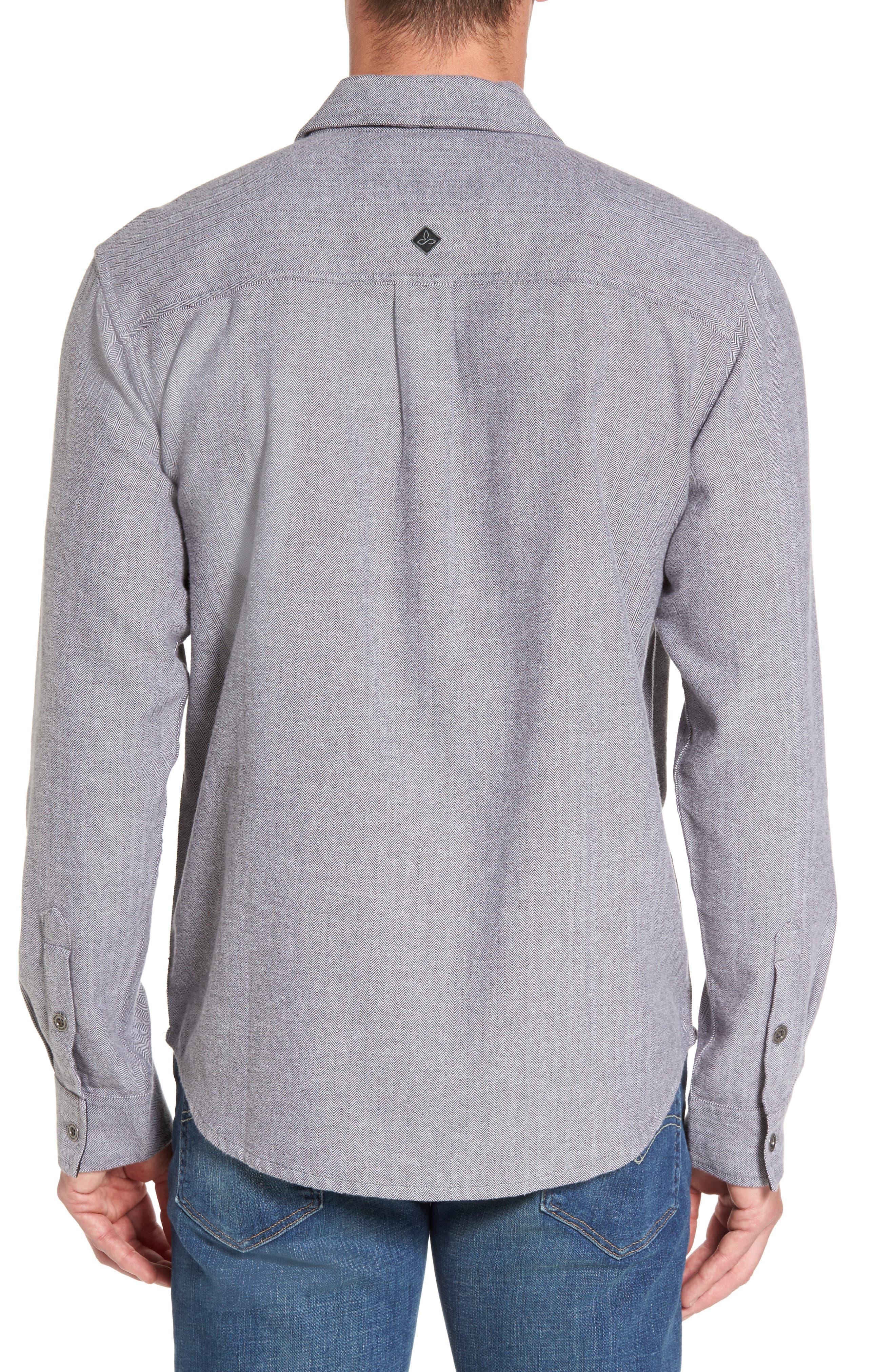 Lybek Regular Fit Herringbone Flannel Shirt,                             Alternate thumbnail 2, color,                             Gravel