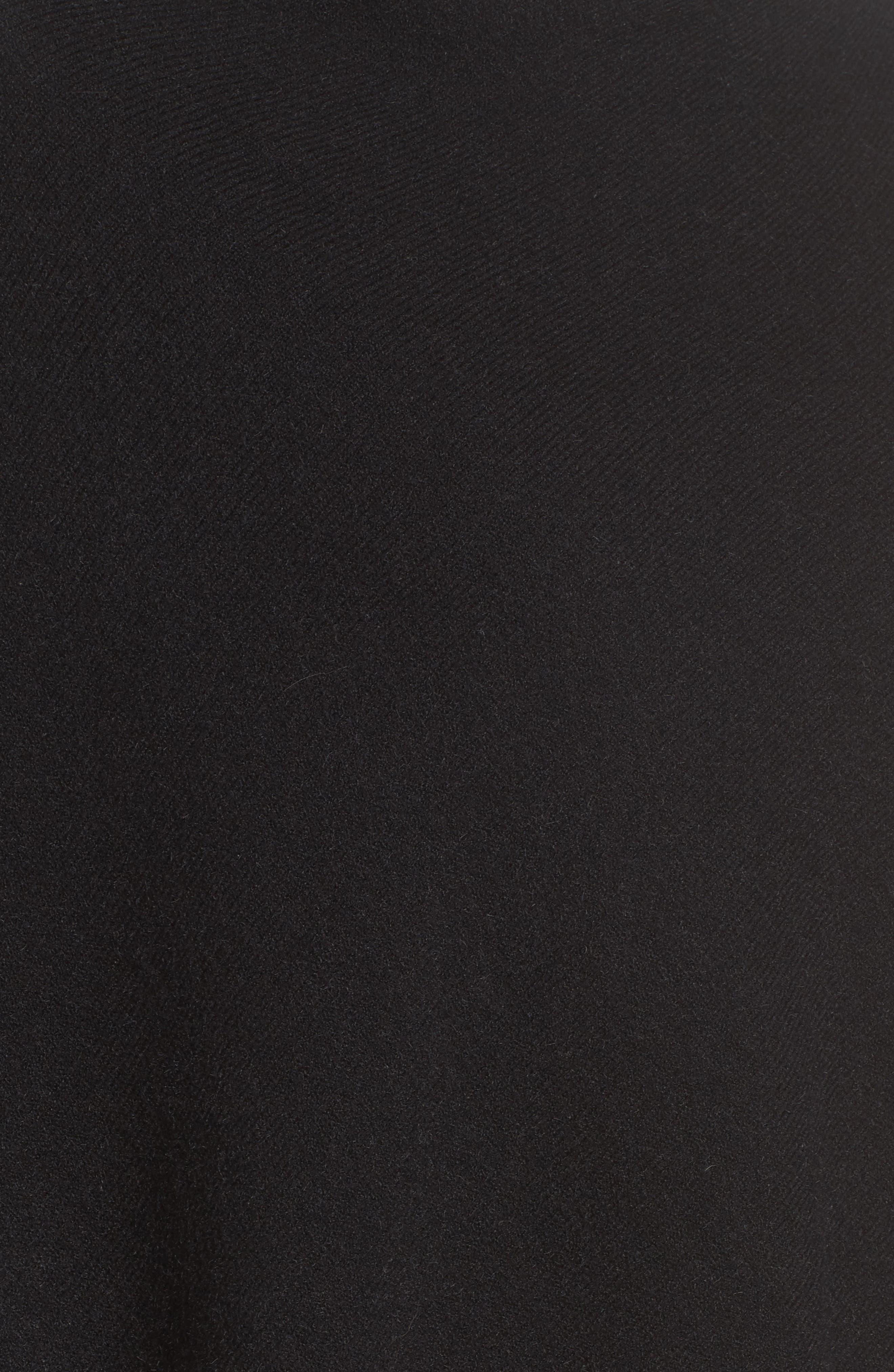 Angled Poncho with Genuine Rabbit Fur Trim,                             Alternate thumbnail 5, color,                             Black