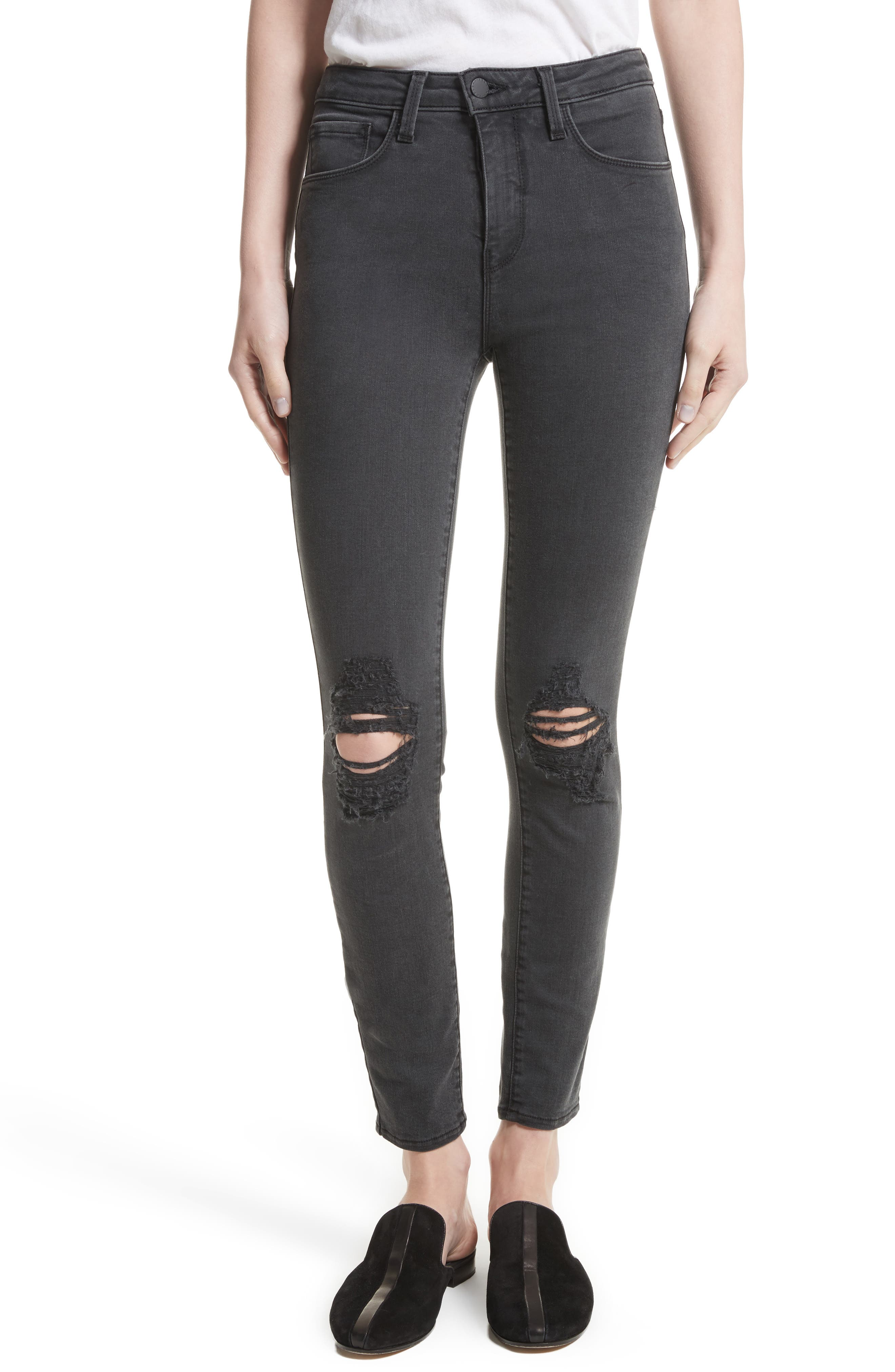 Main Image - L'AGENCE Margot Ripped High Waist Skinny Jeans (Coal Destruct)