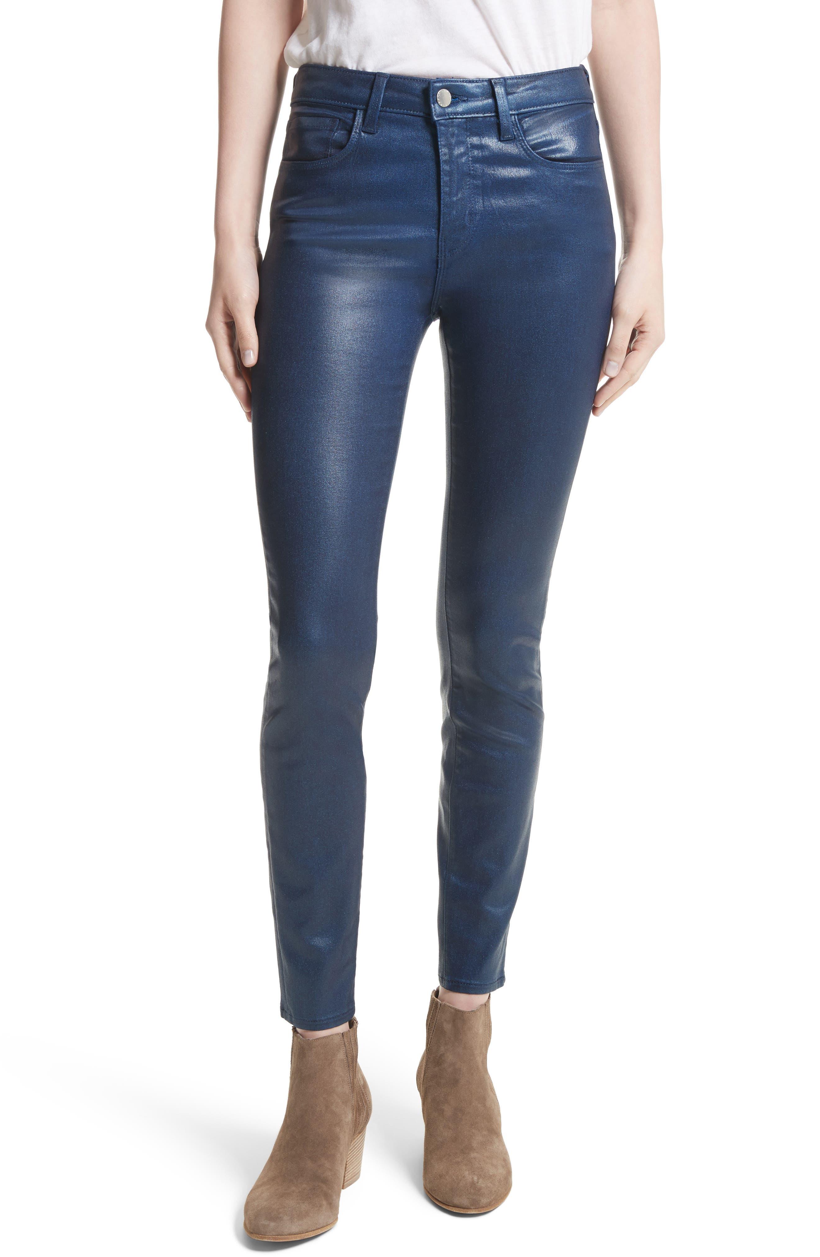 High waisted coated skinny jeans
