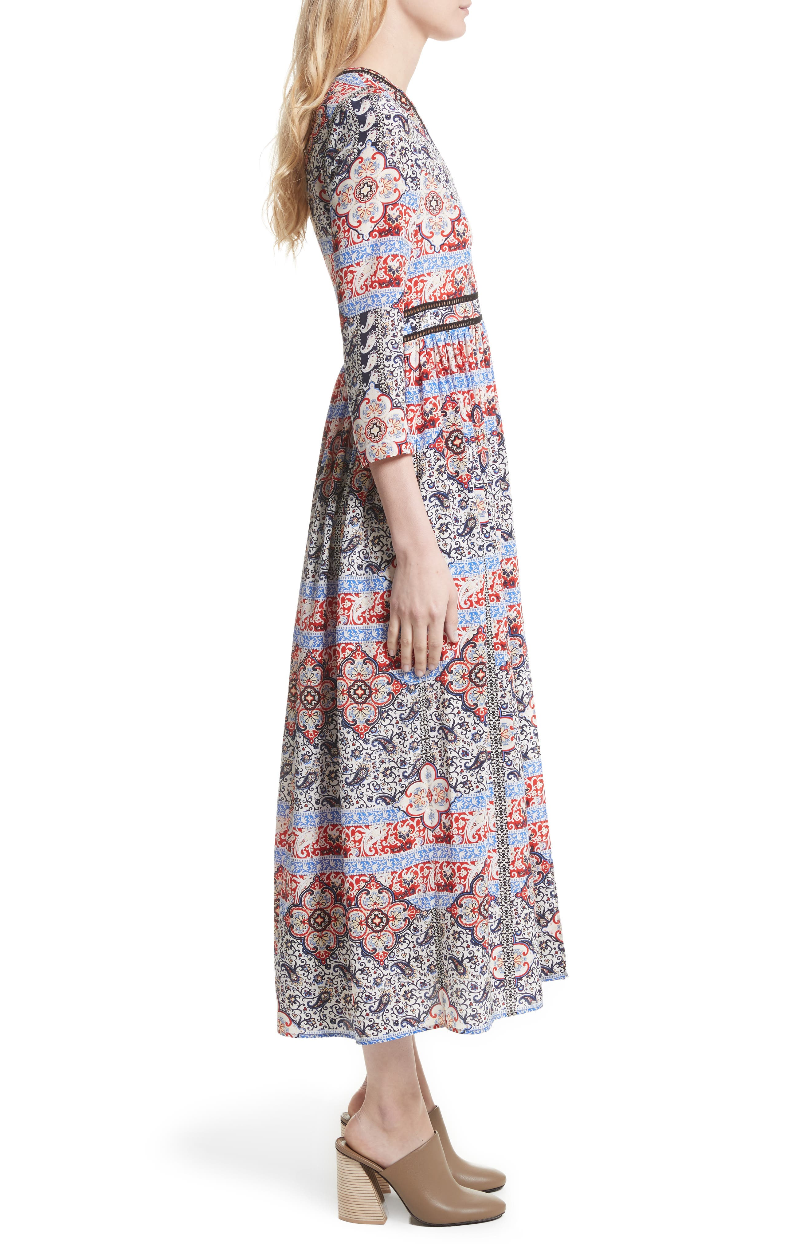 Rosalia Print Silk Maxi Dress,                             Alternate thumbnail 4, color,                             Ivory Multi