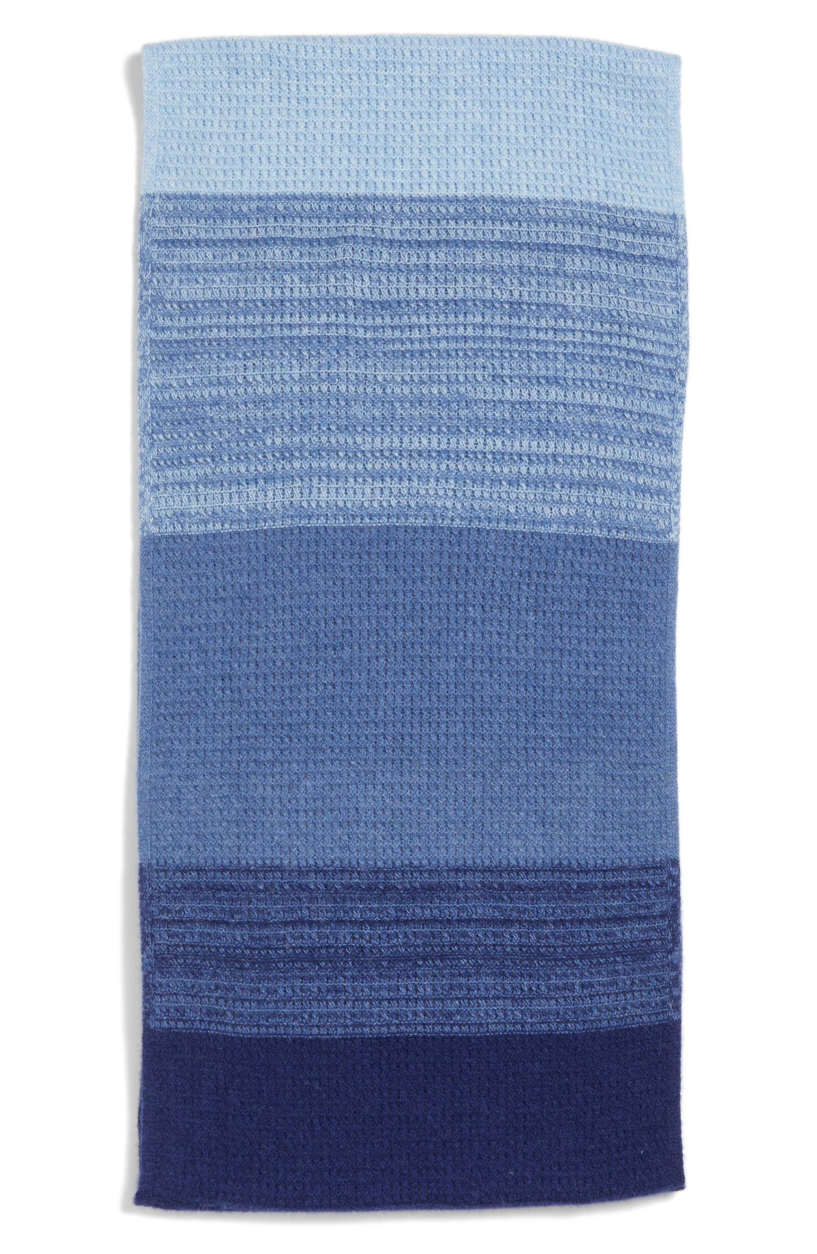 Ombré Cashmere Infinity Scarf,                             Alternate thumbnail 2, color,                             Navy Combo