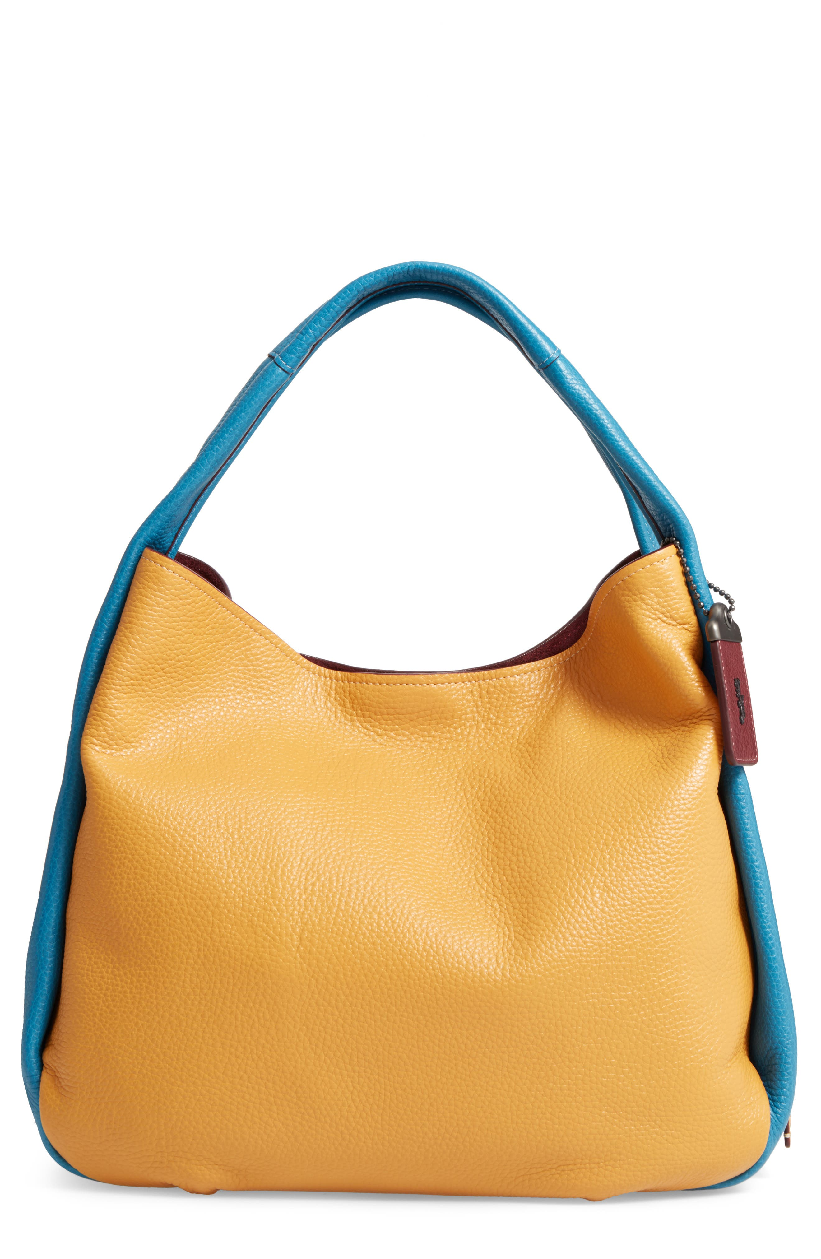 Colorblock Bandit Leather Hobo Bag,                             Main thumbnail 1, color,                             Goldenrod Multi