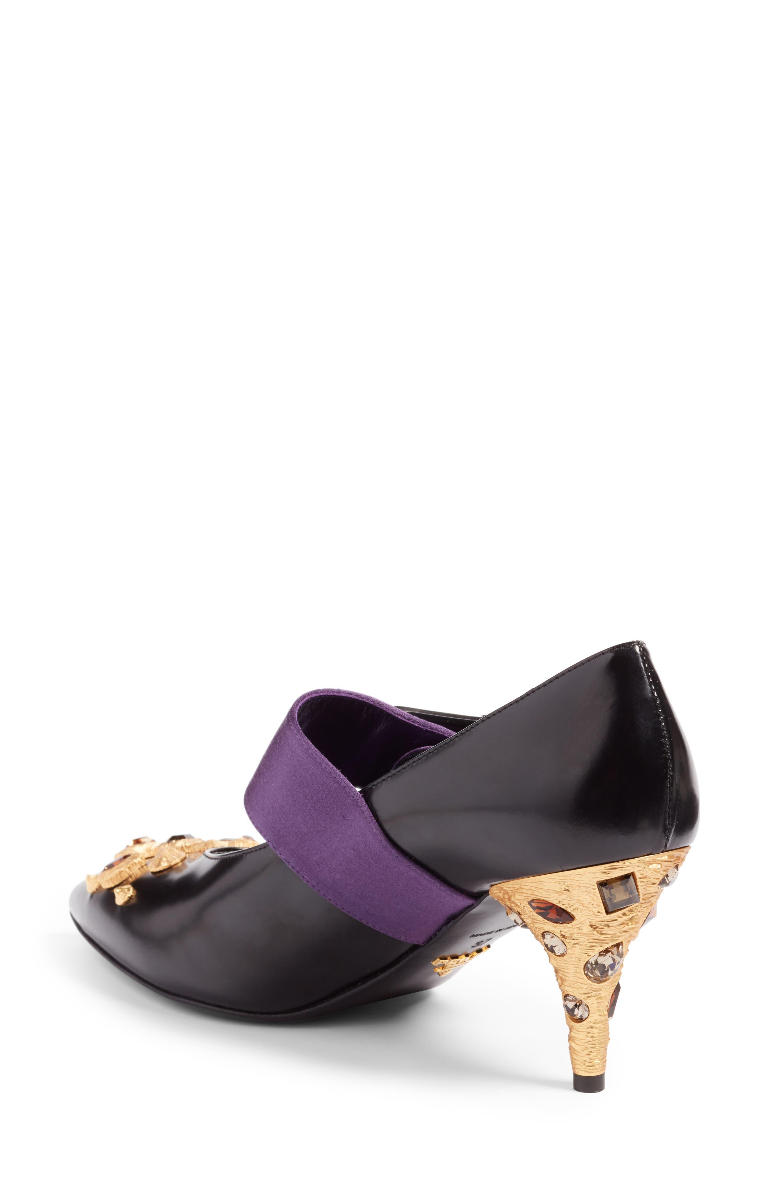 Jeweled Mary Jane Pump,                             Alternate thumbnail 2, color,                             Black/ Purple
